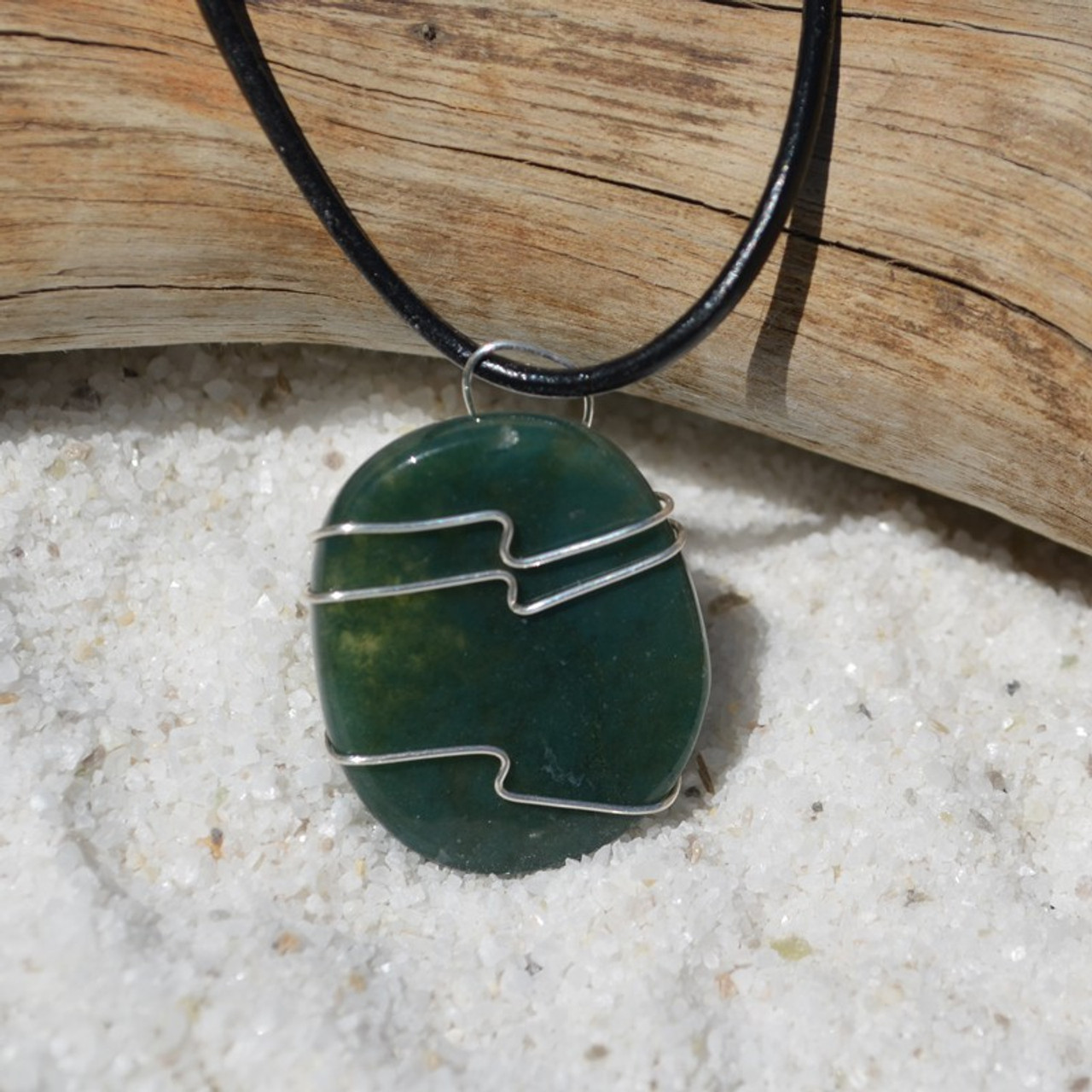 Green Moss Agate Palm Stone Hand Wire Wrapped Necklace