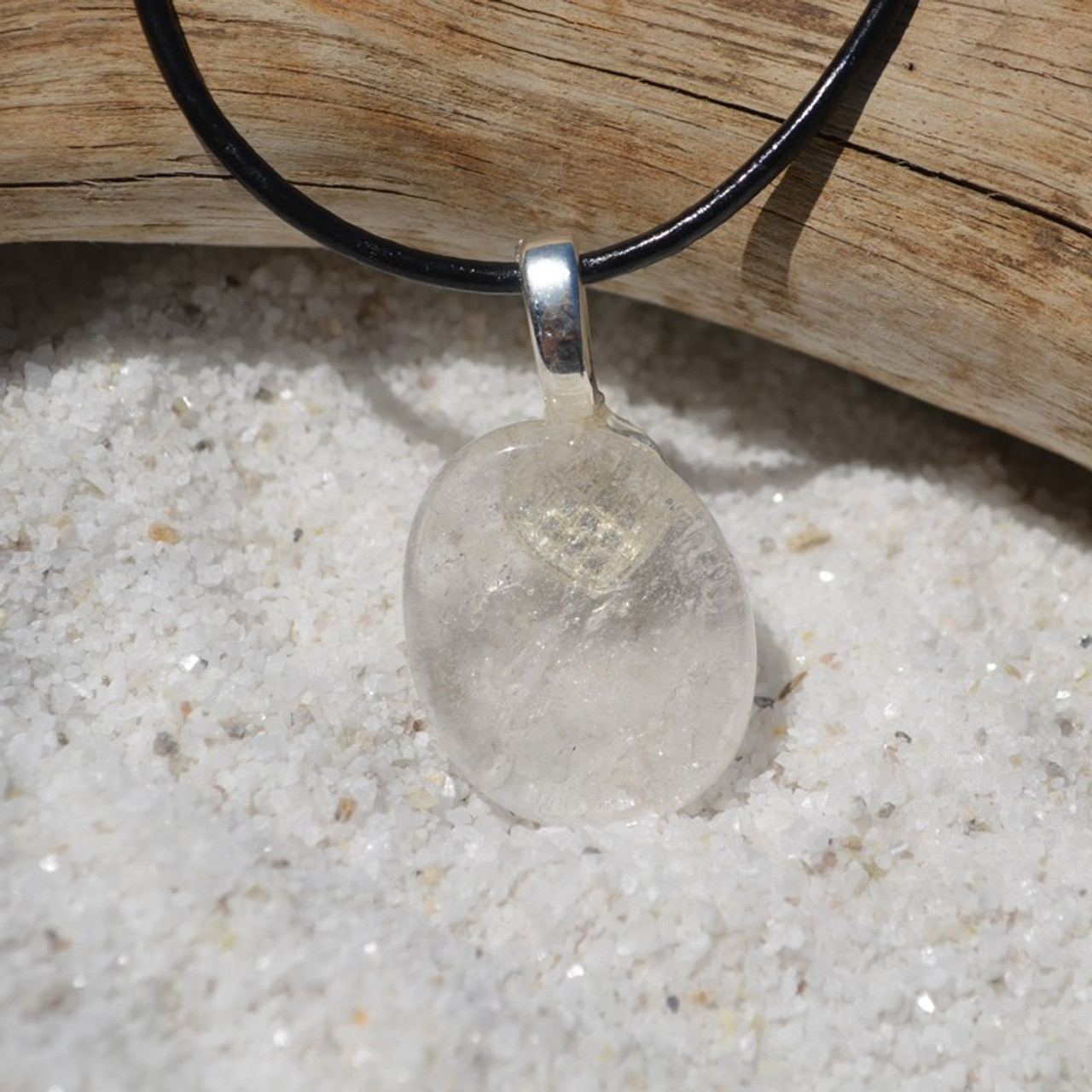 Crystal Quartz Palm Stone on a Leather Thong Necklace - Made to Order