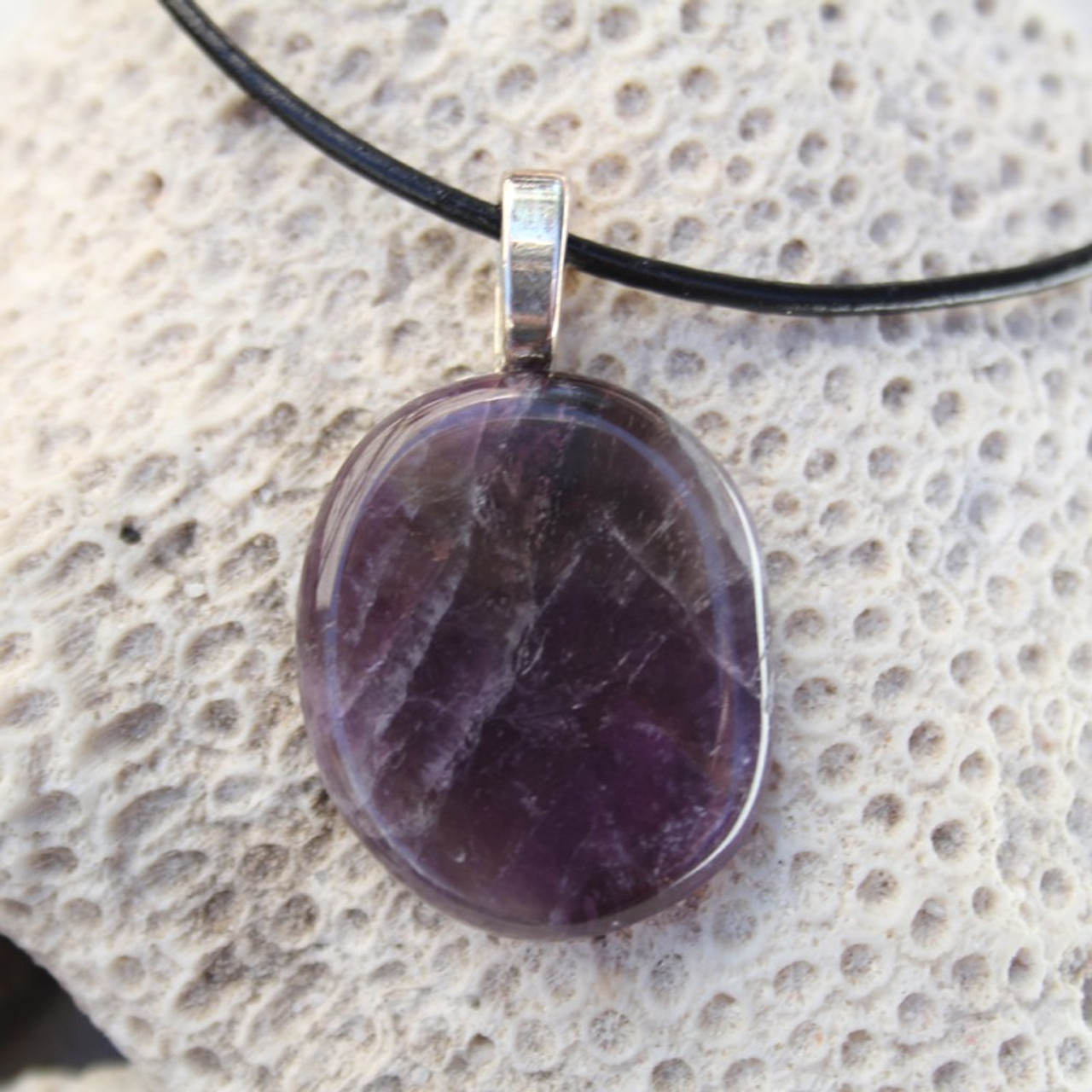 Amethyst Palm Stone Necklace