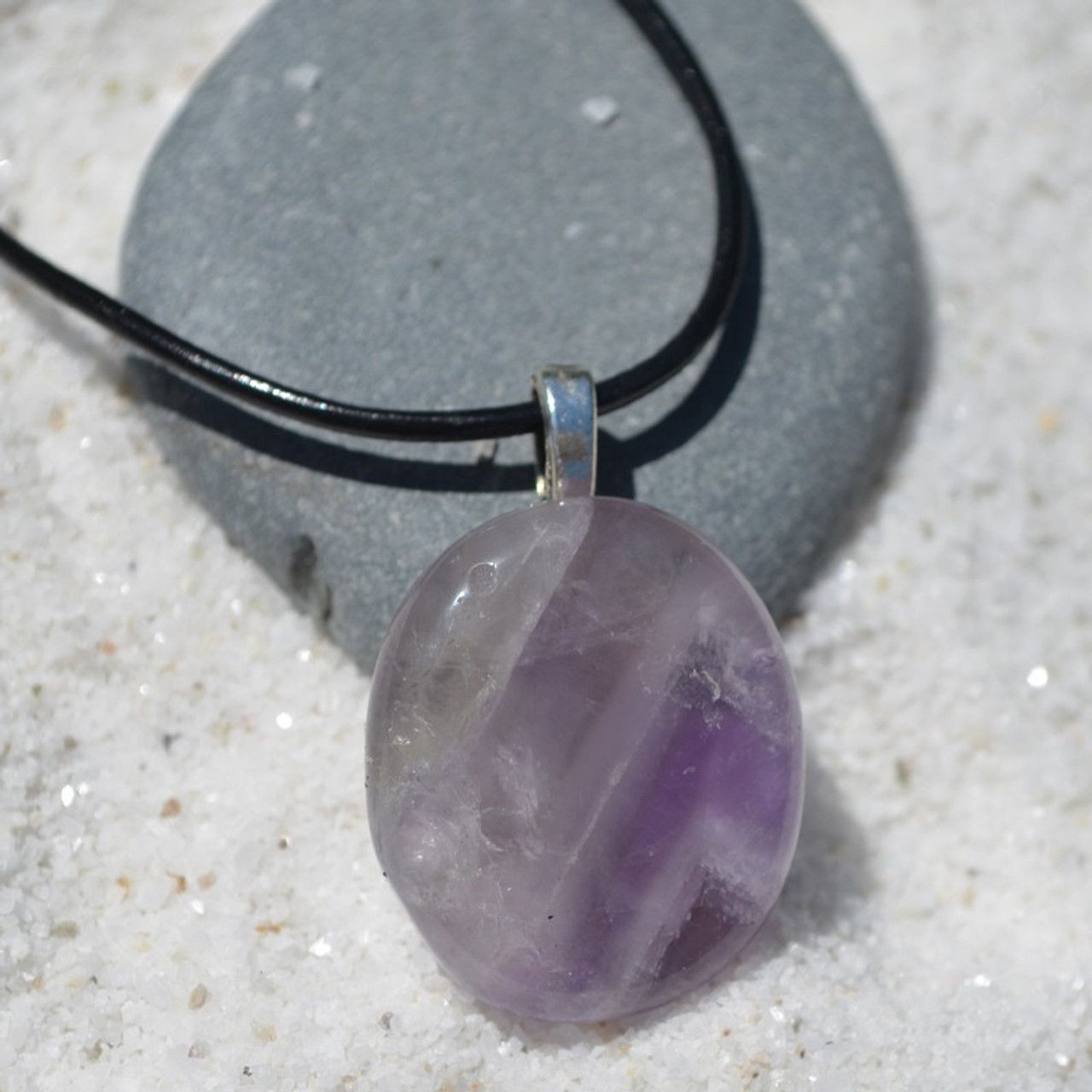 Amethyst Palm Stone on a Leather Thong Necklace - Made to Order