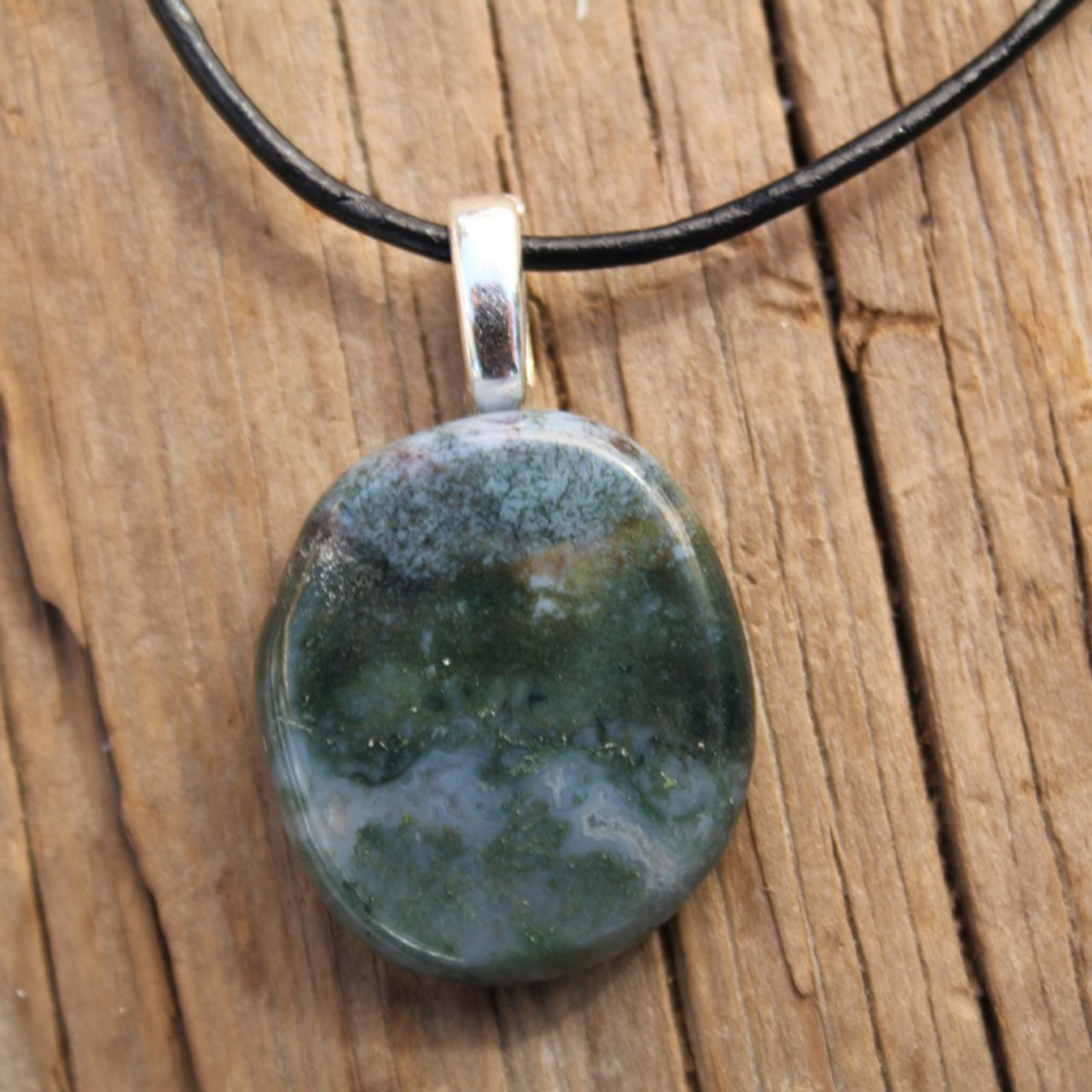 Green Moss Agate Palm Stone Necklace
