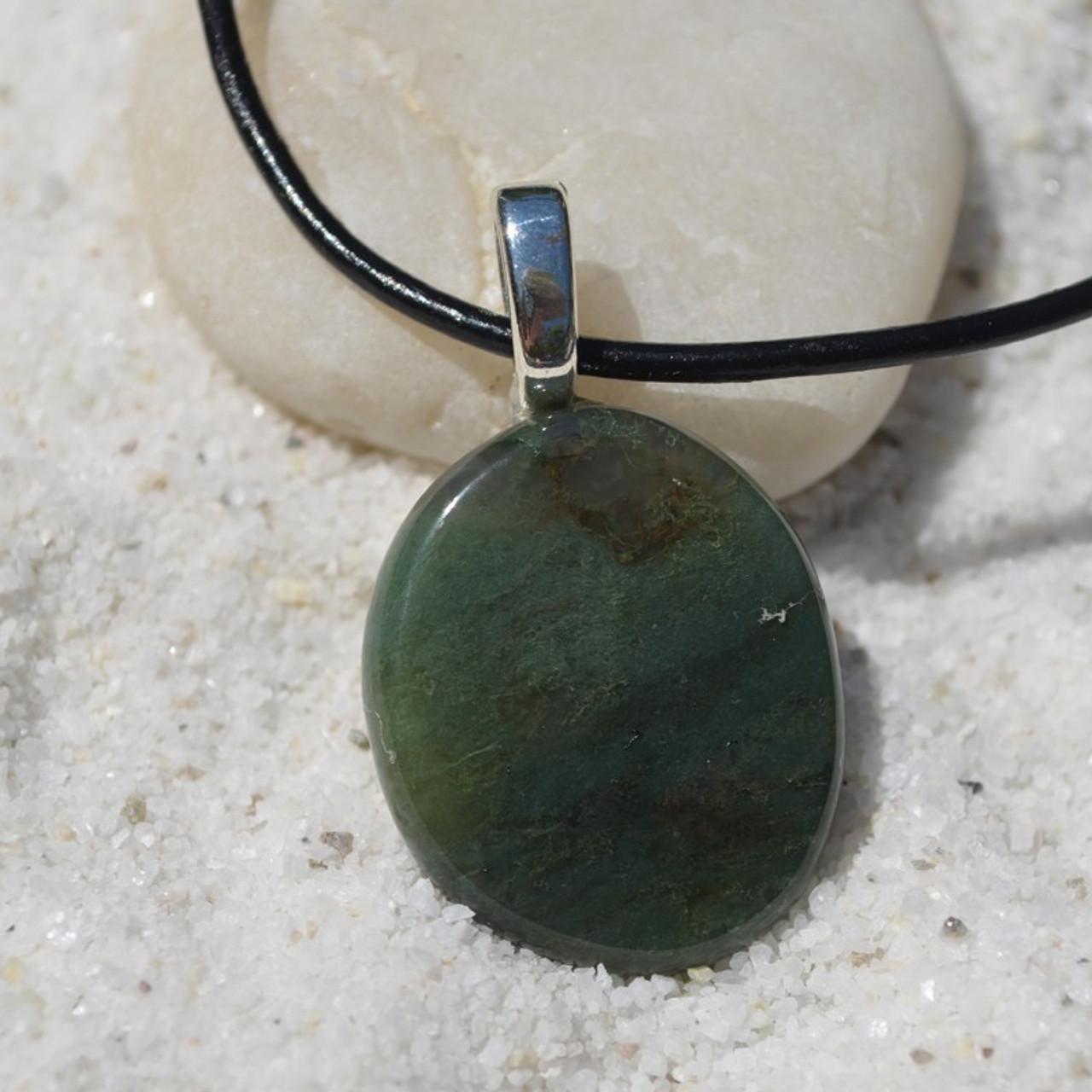 Green Moss Agate Palm Stone Pendant