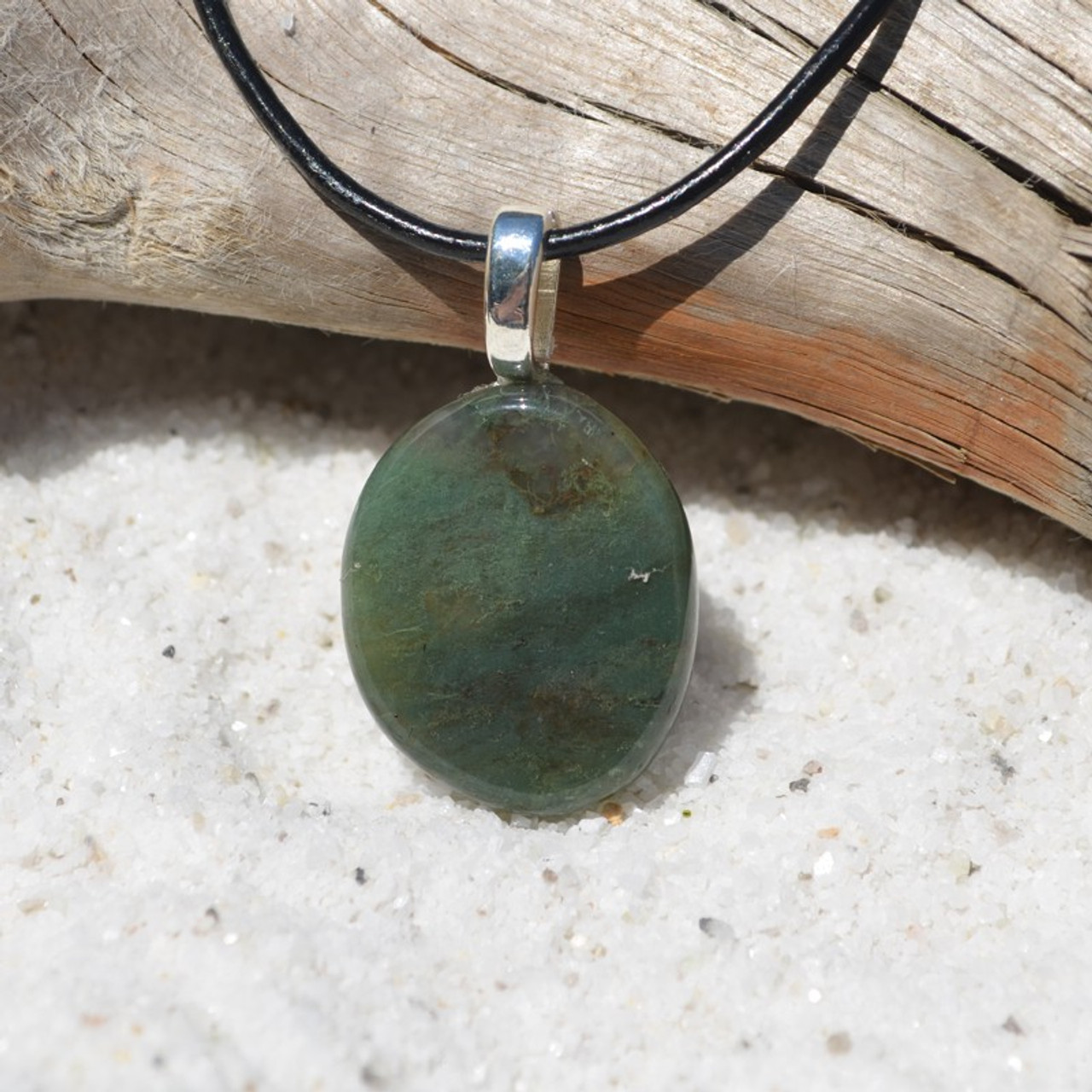 Green Moss Agate Palm Stone on a Leather Thong Necklace - Made to Order