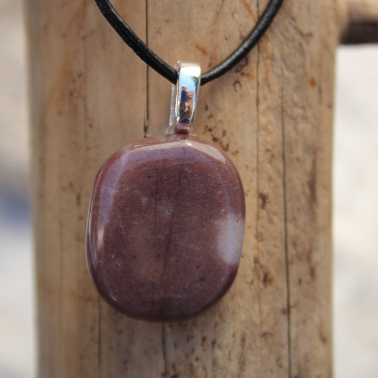 Purple Aventurine Palm Stone on Leather Thong Necklace - Made to Order