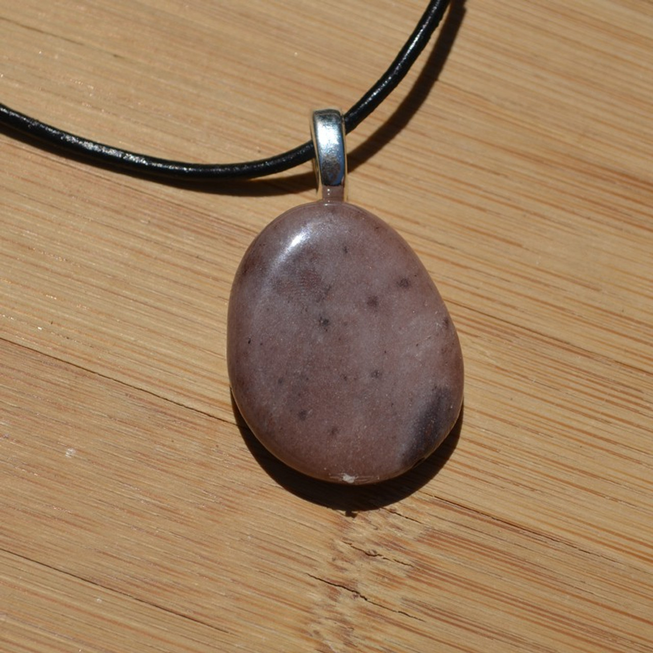 Purple Aventurine Palm Stone Necklace