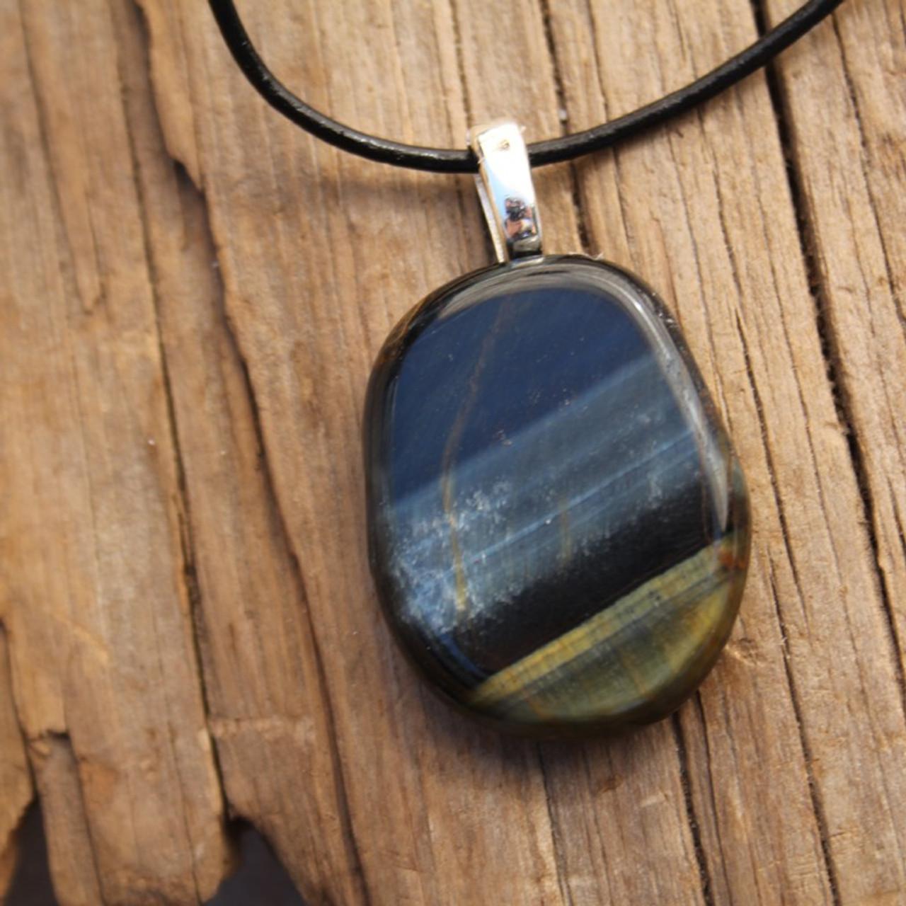 Blue Tiger's Eye Palm Stone Necklace