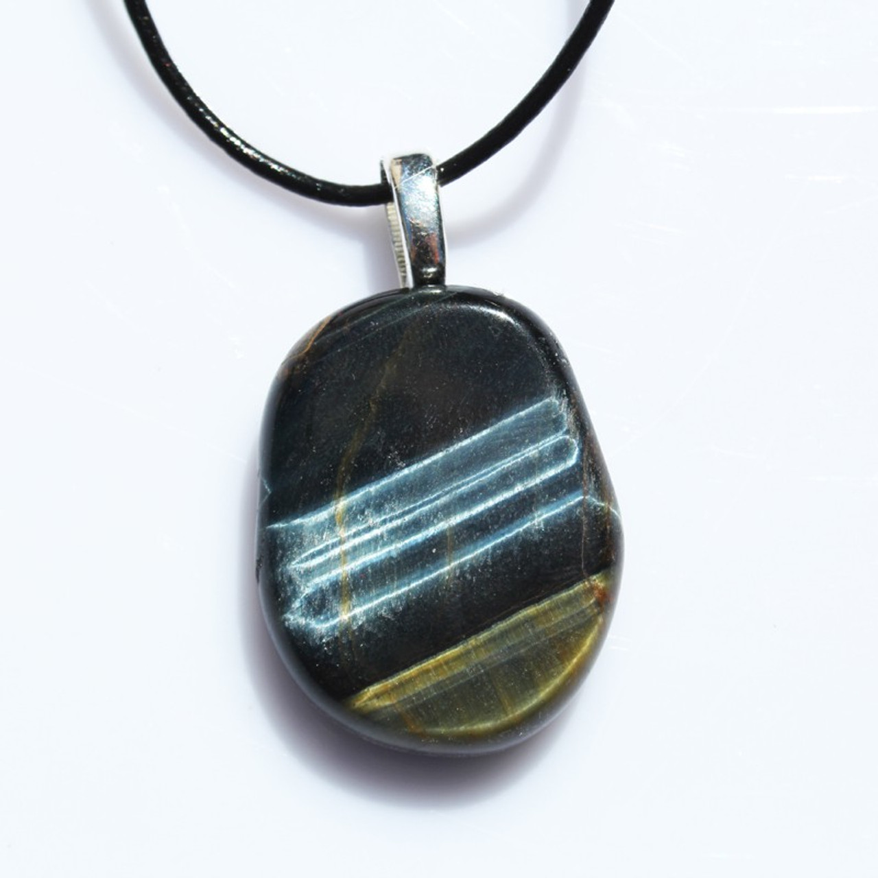 Blue Tiger's Eye Palm Stone on a Leather Thong Necklace - Made to Order