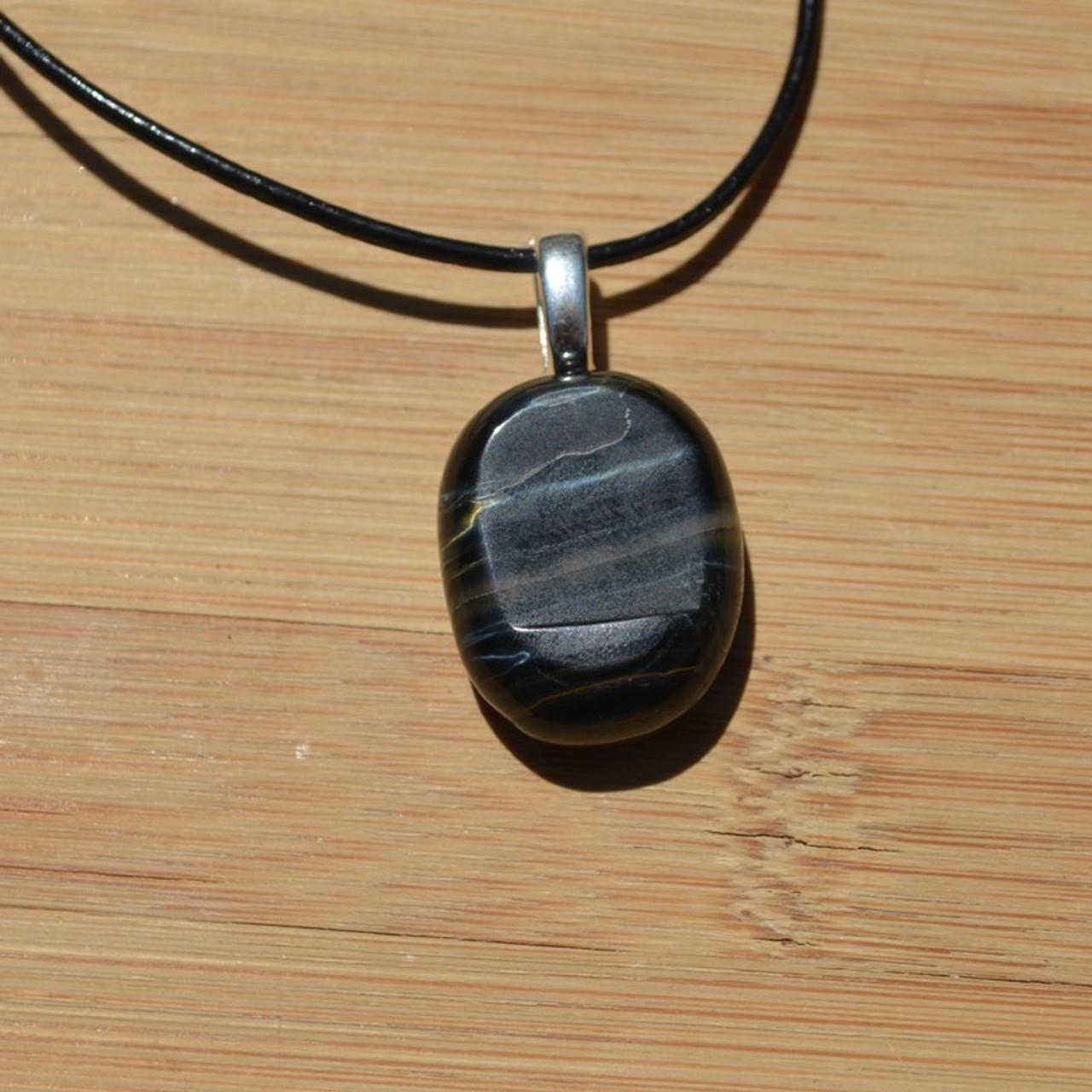 Blue Tiger's Eye Palm Stone Pendant