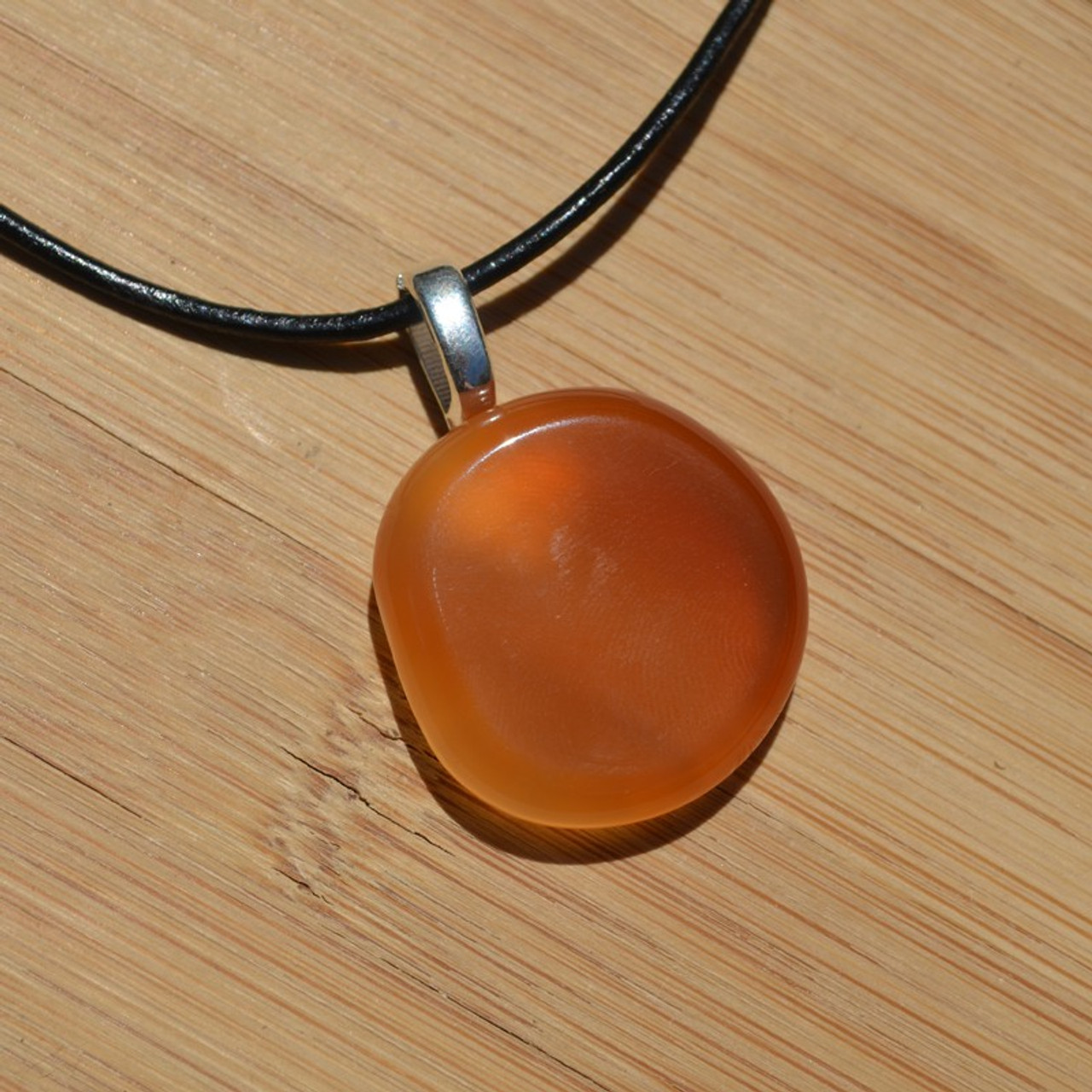 Carnelian Palm Stone on a Leather Thong Necklace - Made to Order