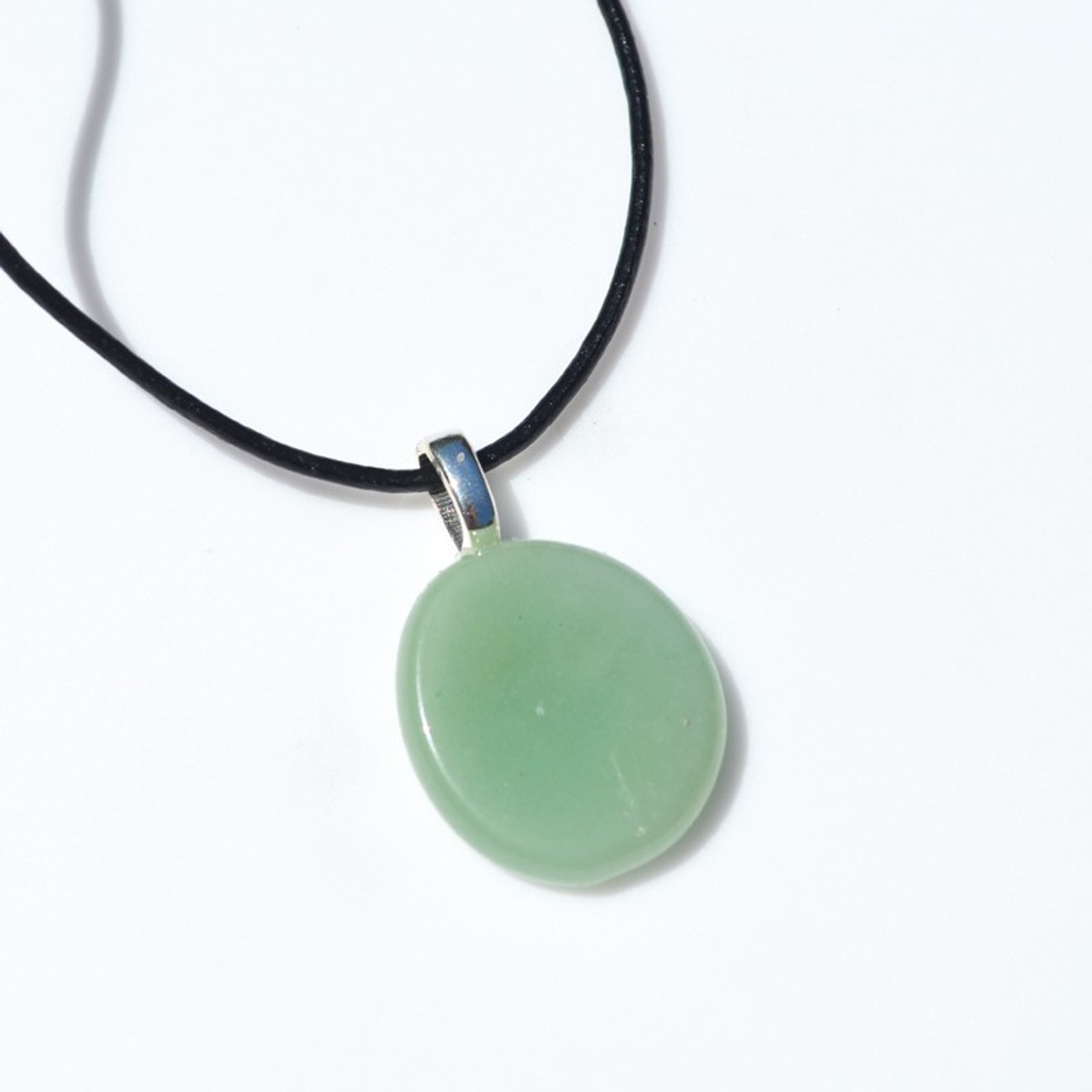 Green Aventurine Palm Stone on a Leather Thong Necklace - Made to Order