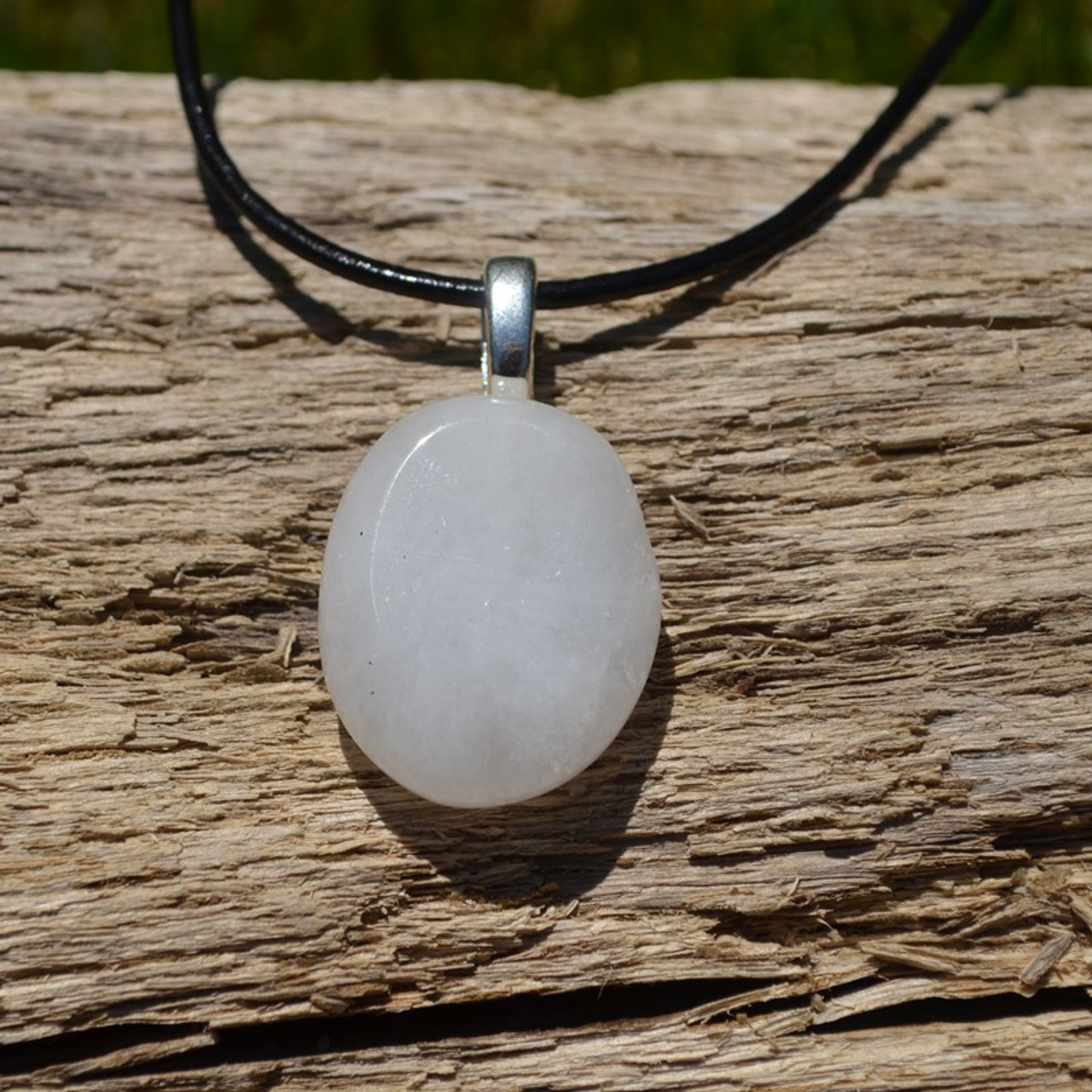 White Jade Palm Stone on Leather Thong Necklace - Made to Order