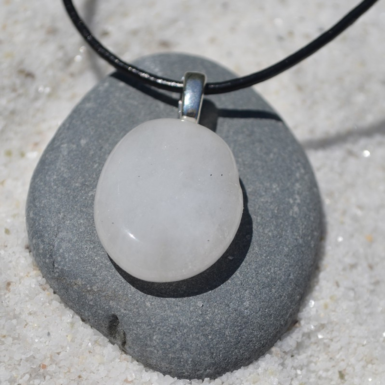 White Jade Palm Stone Pendant