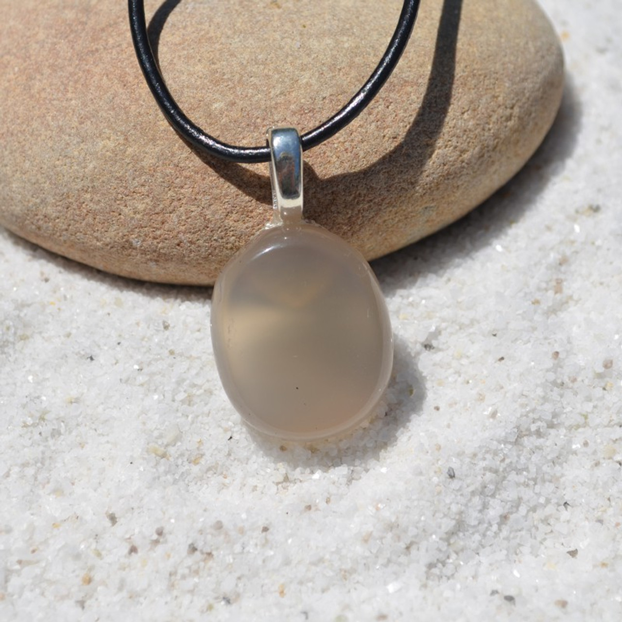 Gray Agate Palm Stone Necklace