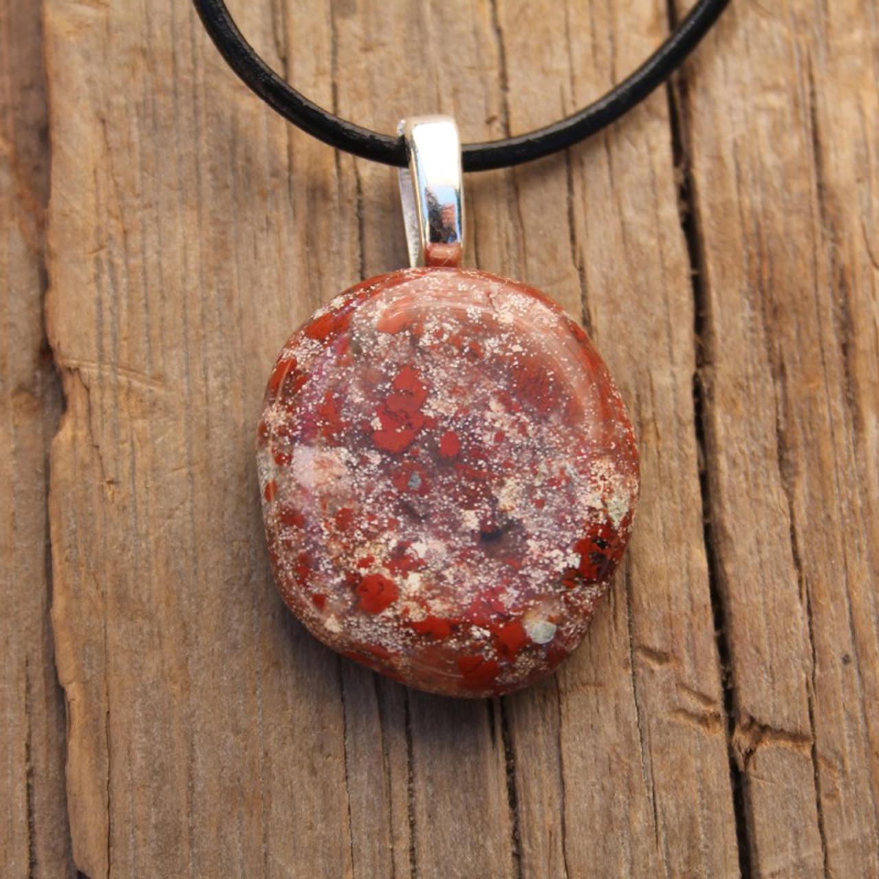 Brecciated Jasper Palm Stone Necklace