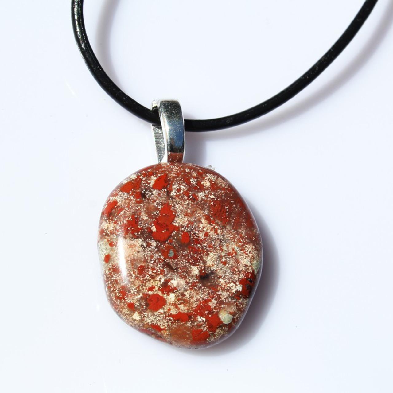 Brecciated Jasper Palm Stone Pendant