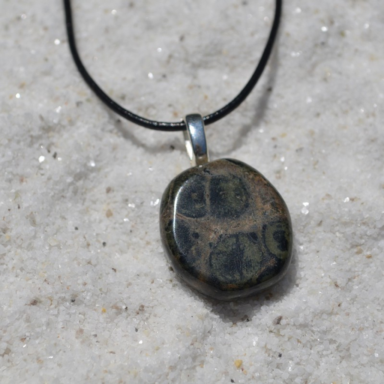 Kambaba Jasper Palm Stone on a Leather Thong Necklace - Made to Order