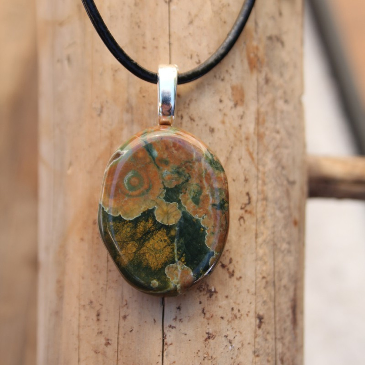 Rhyolite Palm Stone on a Leather Thong Necklace - Made to Order