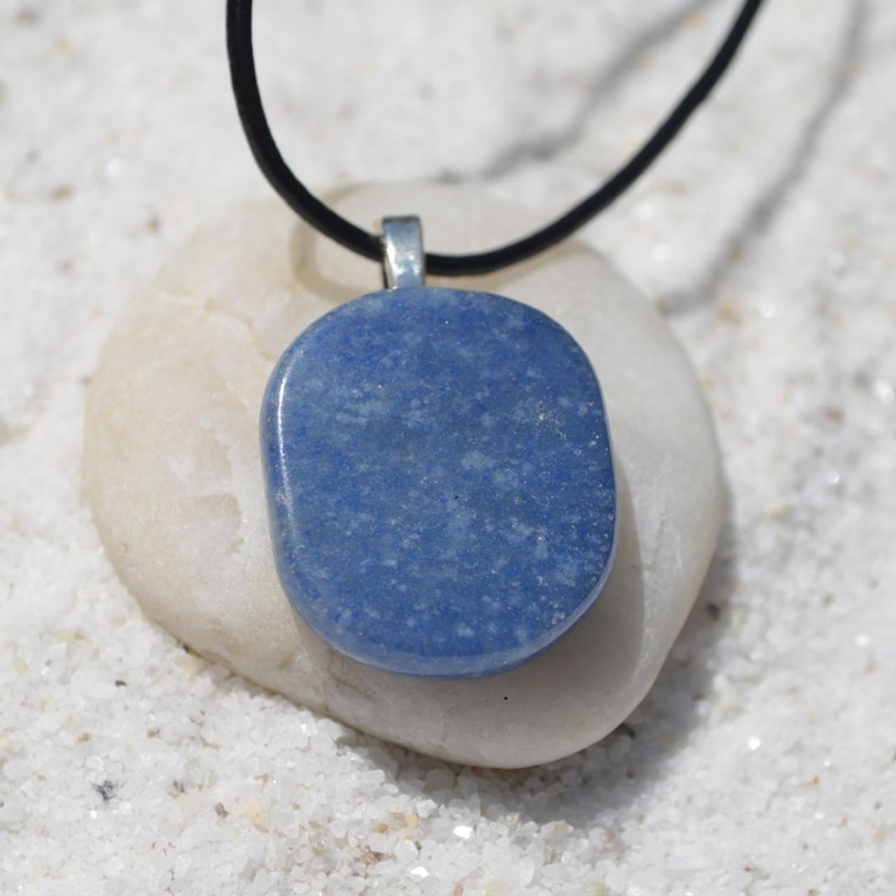 Blue Aventurine Palm Stone  Necklace