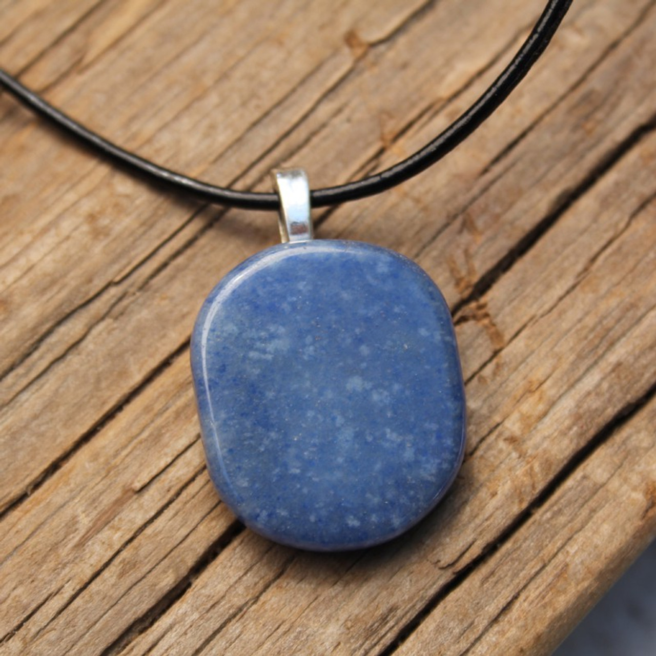 Blue Aventurine Palm Stone on a Leather Thong Necklace - Made to Order