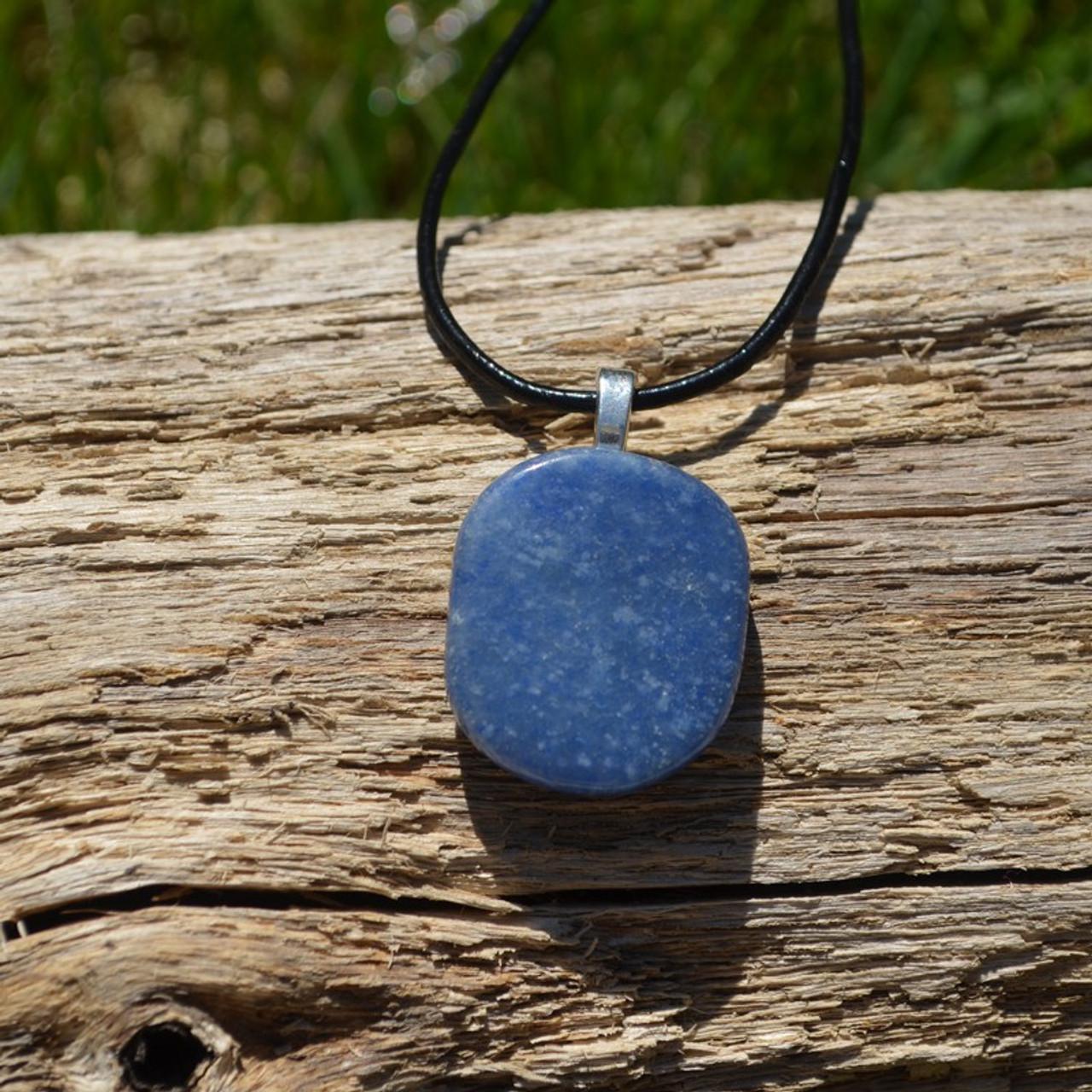 Blue Aventurine Palm Stone  Pendant