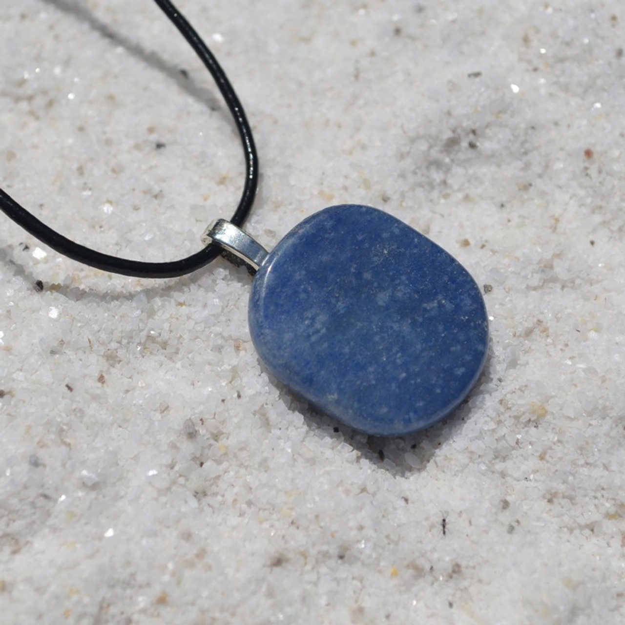 Blue Aventurine Palm Stone  Pendant and Necklace