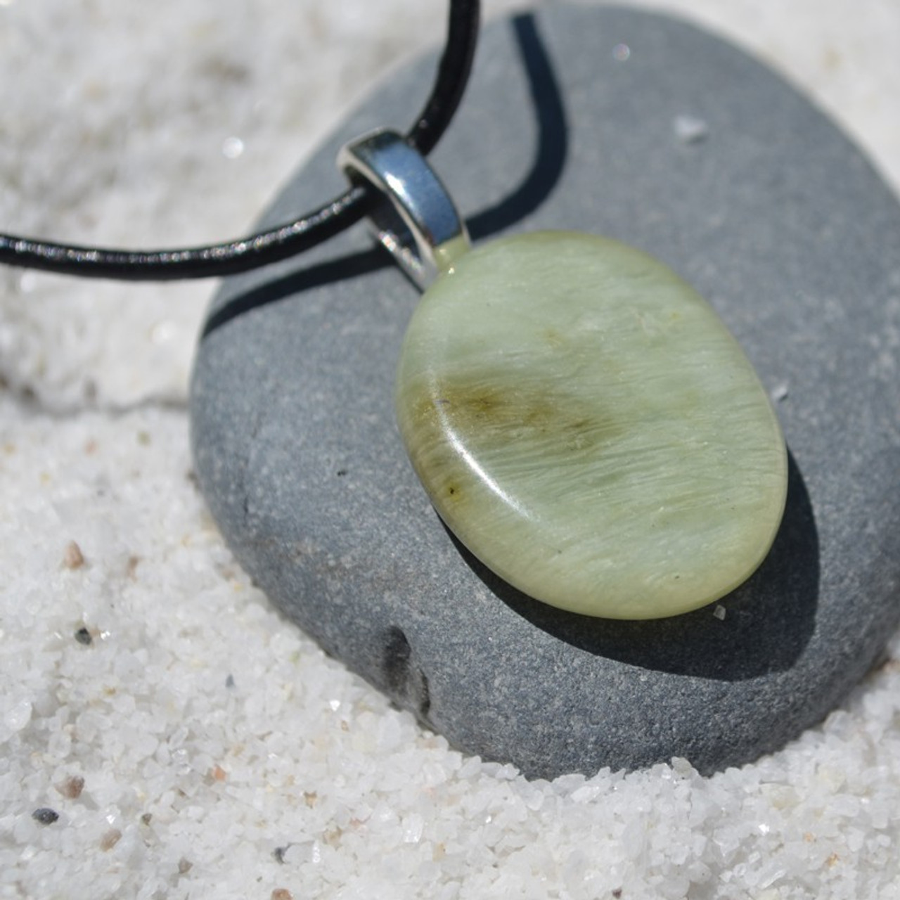 Green Jade Palm Stone Necklace