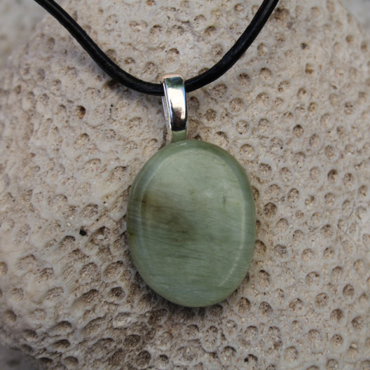 Green Jade Palm Stone on a Leather Thong Necklace - Made to Order