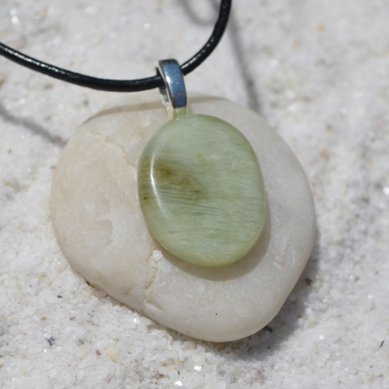 Green Jade Palm Stone Pendant and Necklace