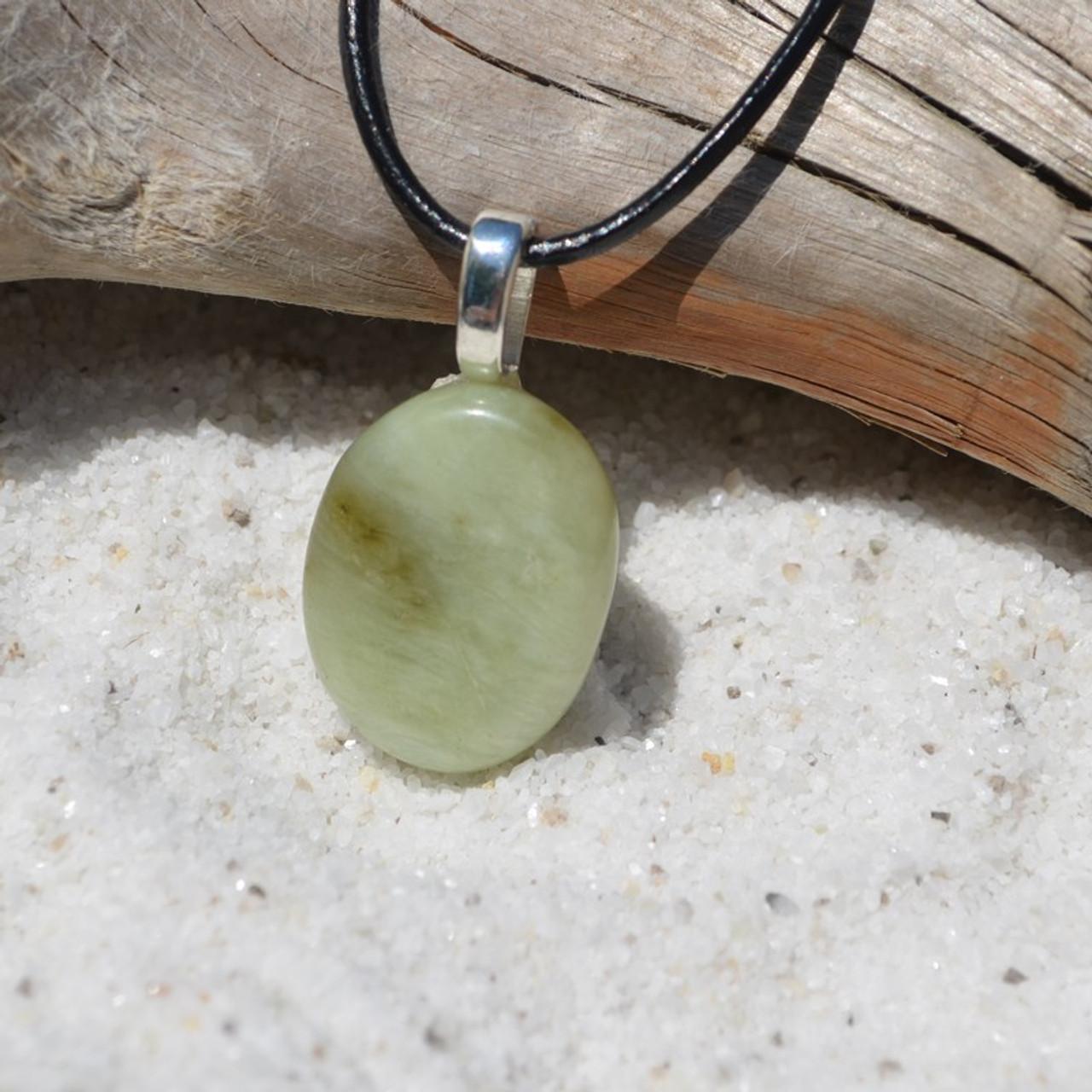 Green Jade Palm Stone Pendant