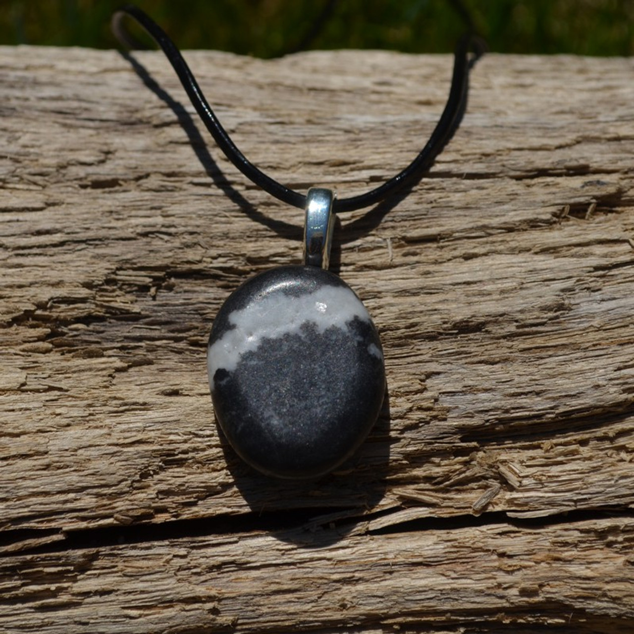 Marble Zebra Jasper Palm Stone on a Leather Thong Necklace - Made to Order