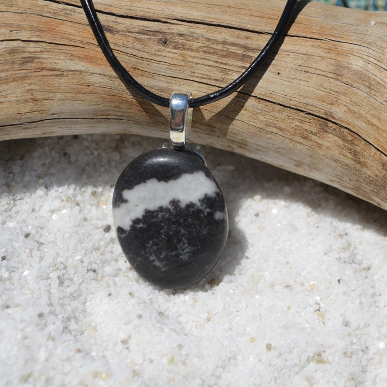 Marble Zebra Jasper Palm Stone  Pendant