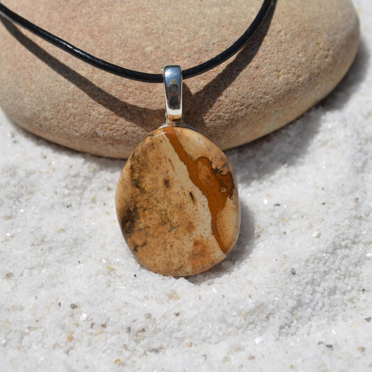 Picture Jasper Palm Stone Necklace