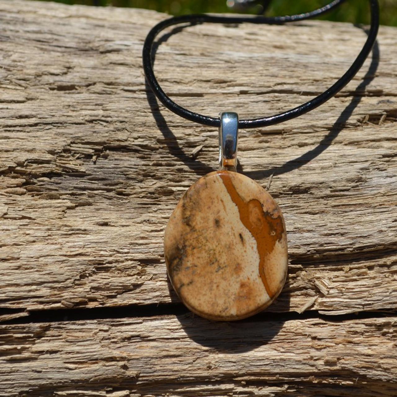 Picture Jasper Palm Stone Pendant