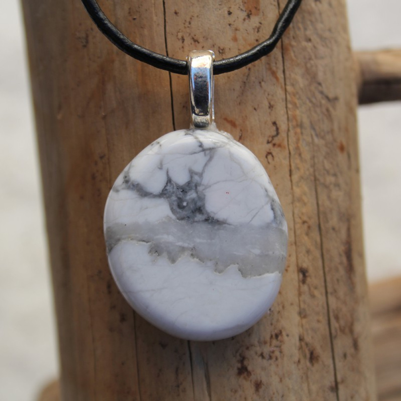White Howlite Palm Stone Pendant