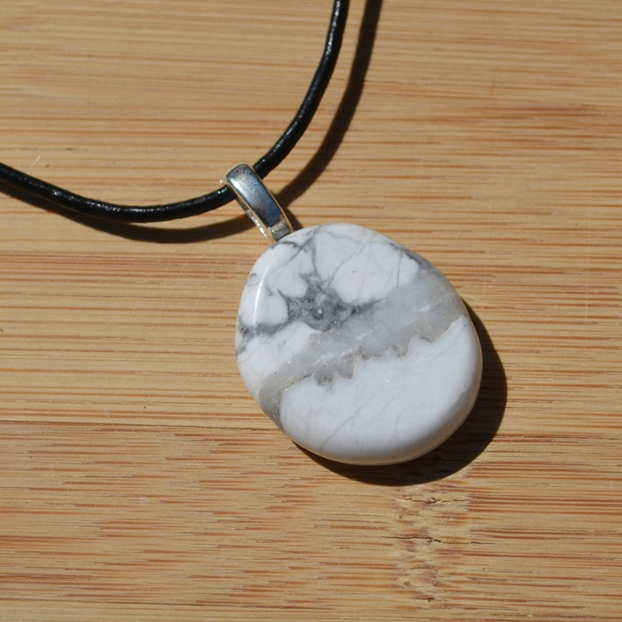 White Howlite Palm Stone on a Leather Thong Necklace - Made to Order