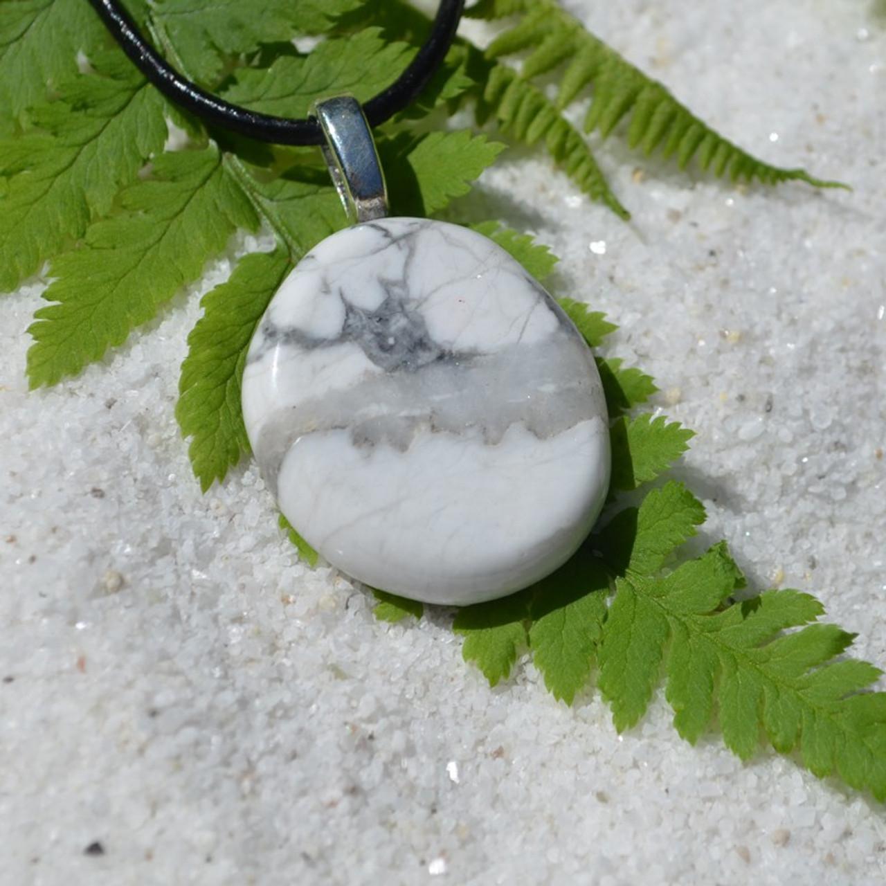 White Howlite Palm Stone Necklace