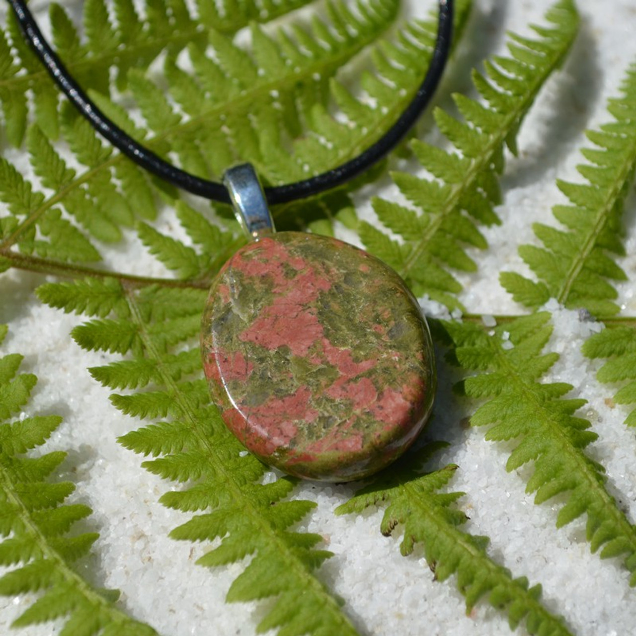 Unakite Jasper Palm Stone Necklace