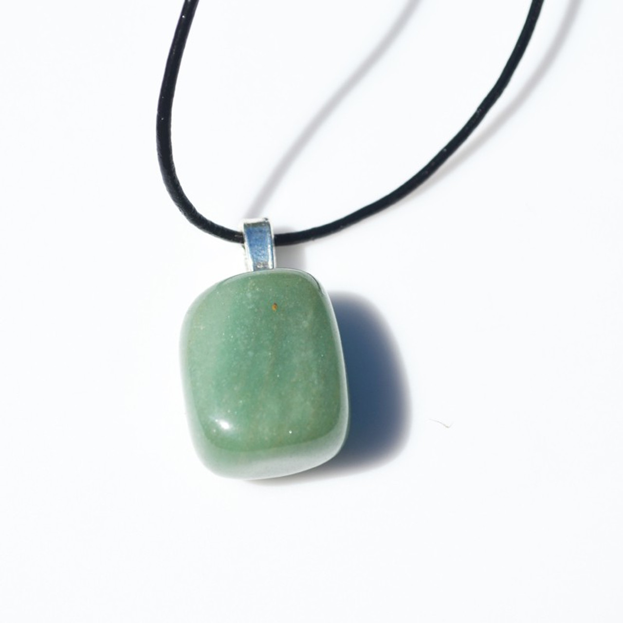 Green Aventurine Stone on a Leather Thong Necklace - Made to Order