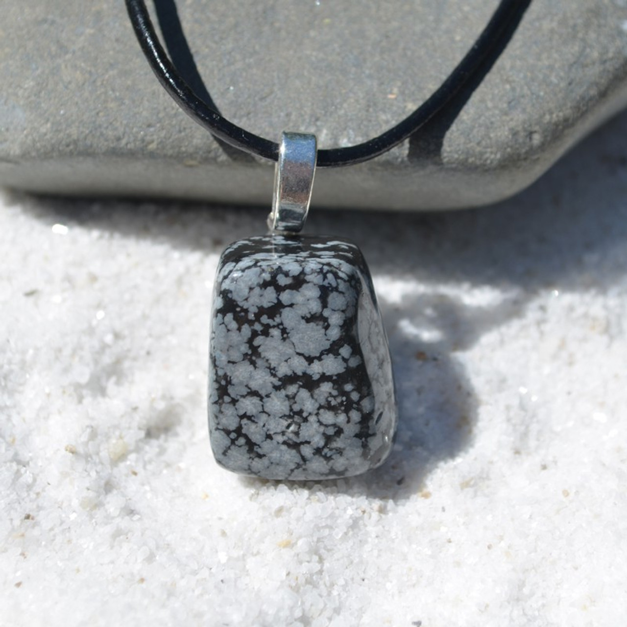 Snowflake Obsidian Stone on a Leather Thong Necklace - Made to Order