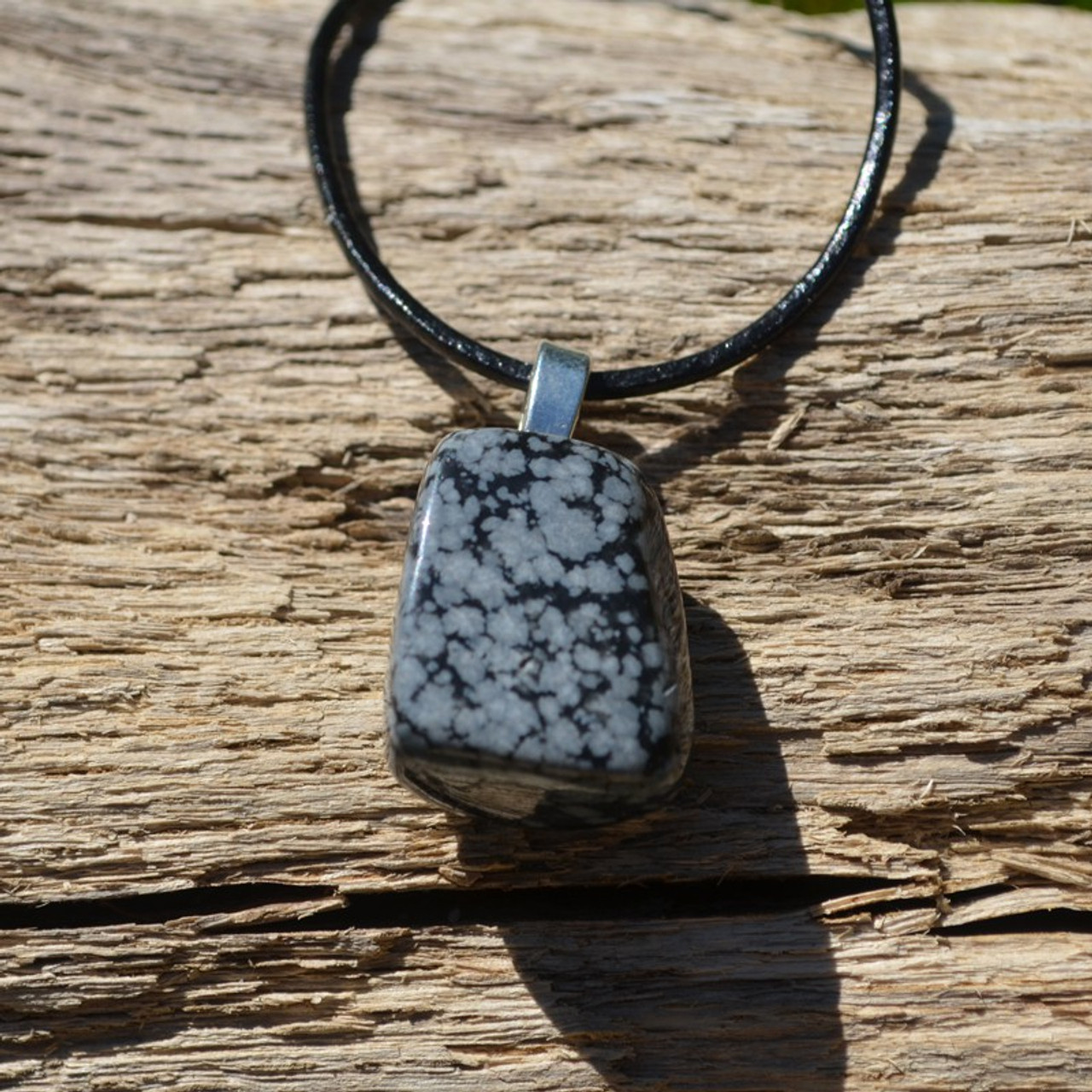 Snowflake Obsidian Stone Necklace