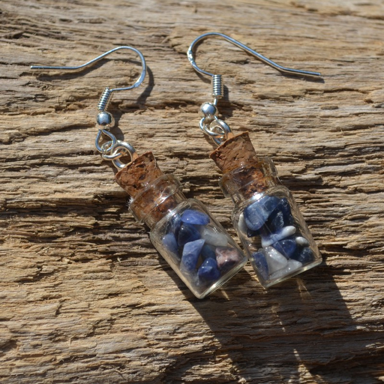 Sodalite Stones in Delicate Glass Vial Earrings - Made to Order
