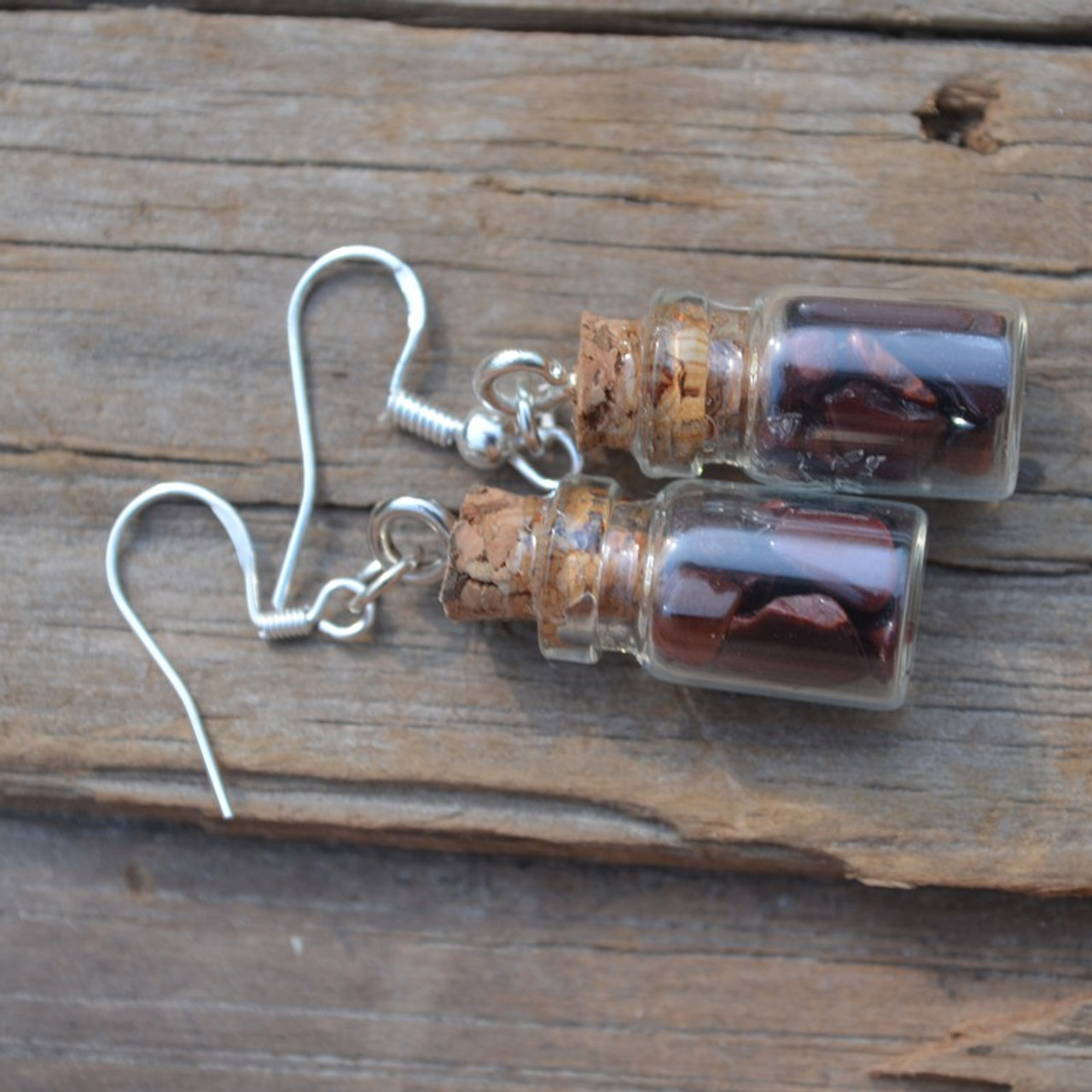 Red Tiger's Eye Stones in Delicate Glass Vial Earrings - Made to Order