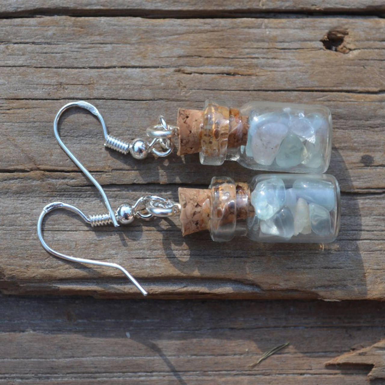 Fluorite Stones in Delicate Glass Vial Earrings