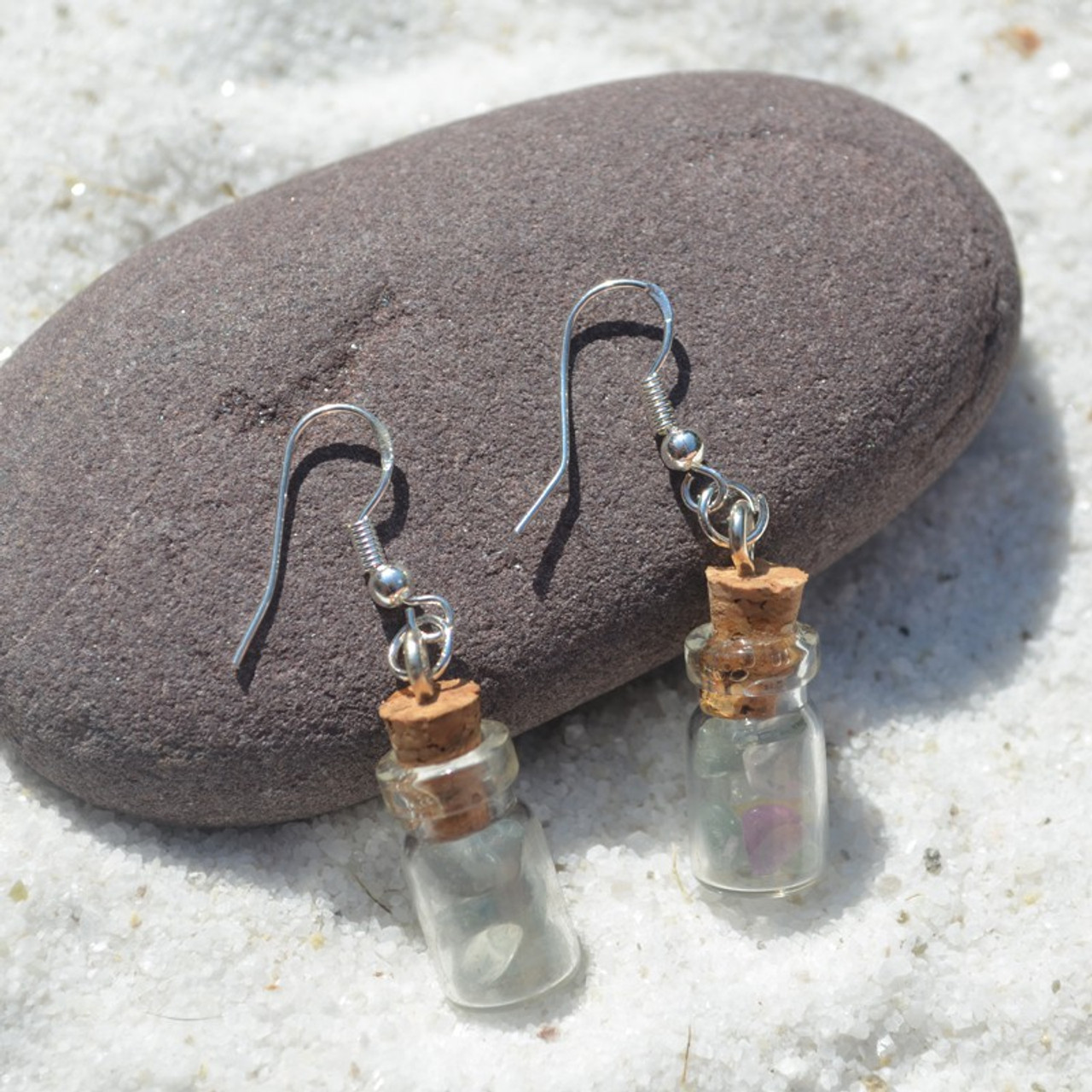 Fluorite Stones in Delicate Glass Vial Earrings - Made to Order