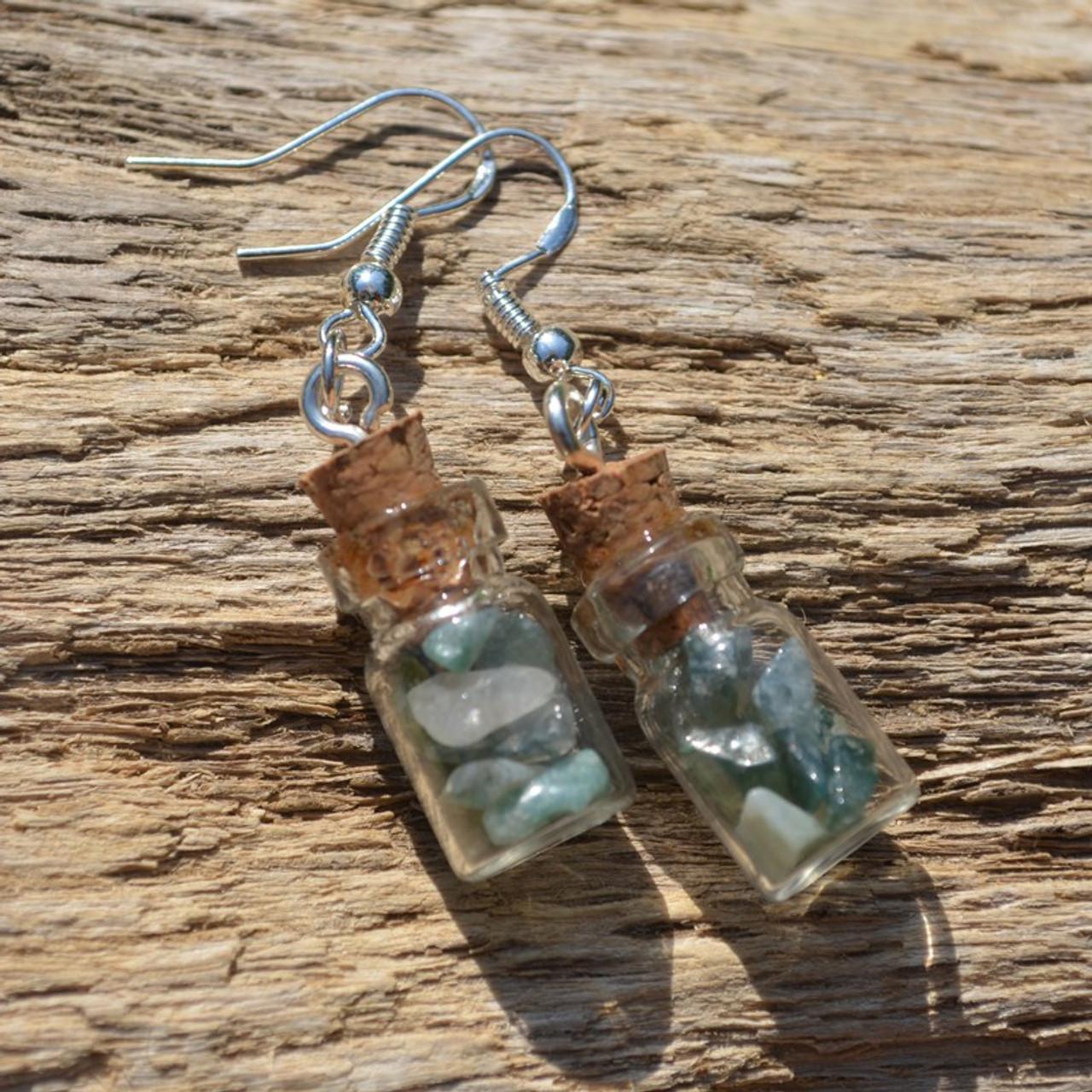 Green Moss Agate Stones in Delicate Glass Vial Earrings