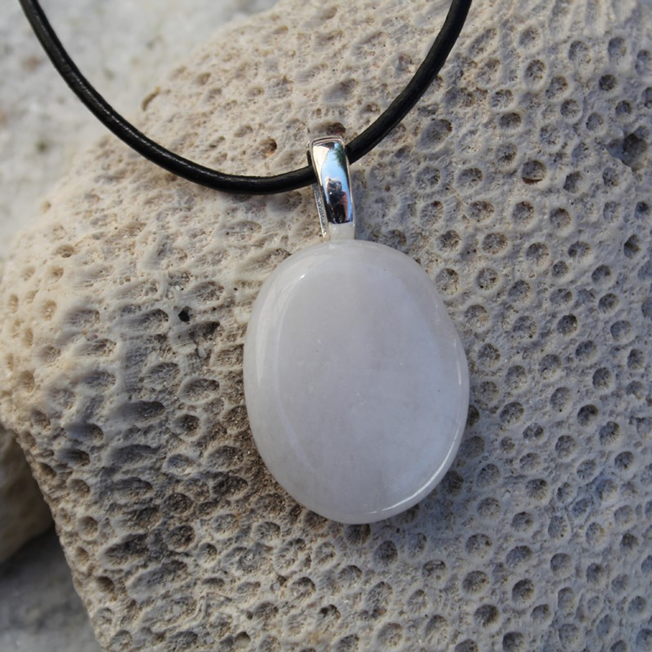 White Jade Palm Stone Necklace