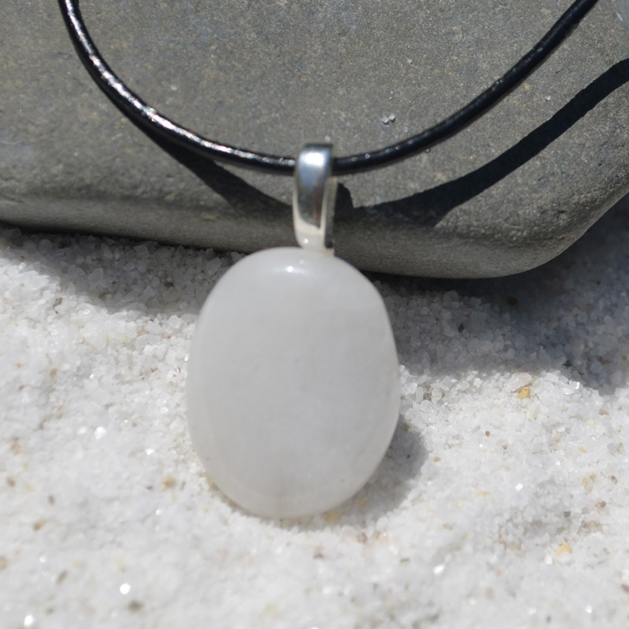 White Jade Palm Stone on a Leather Thong Necklace - Made to Order