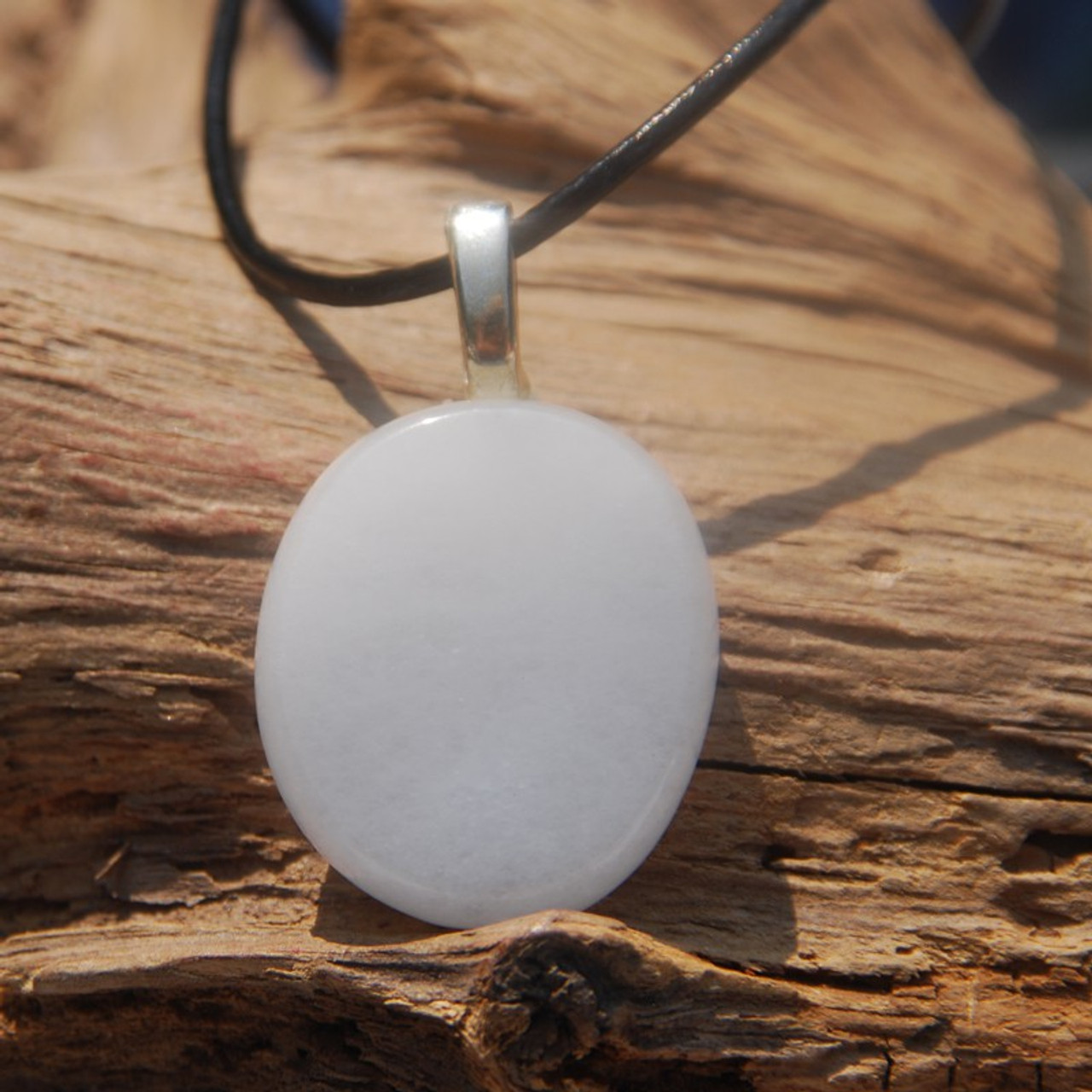 White Jade Palm Stone Pendant and Necklace