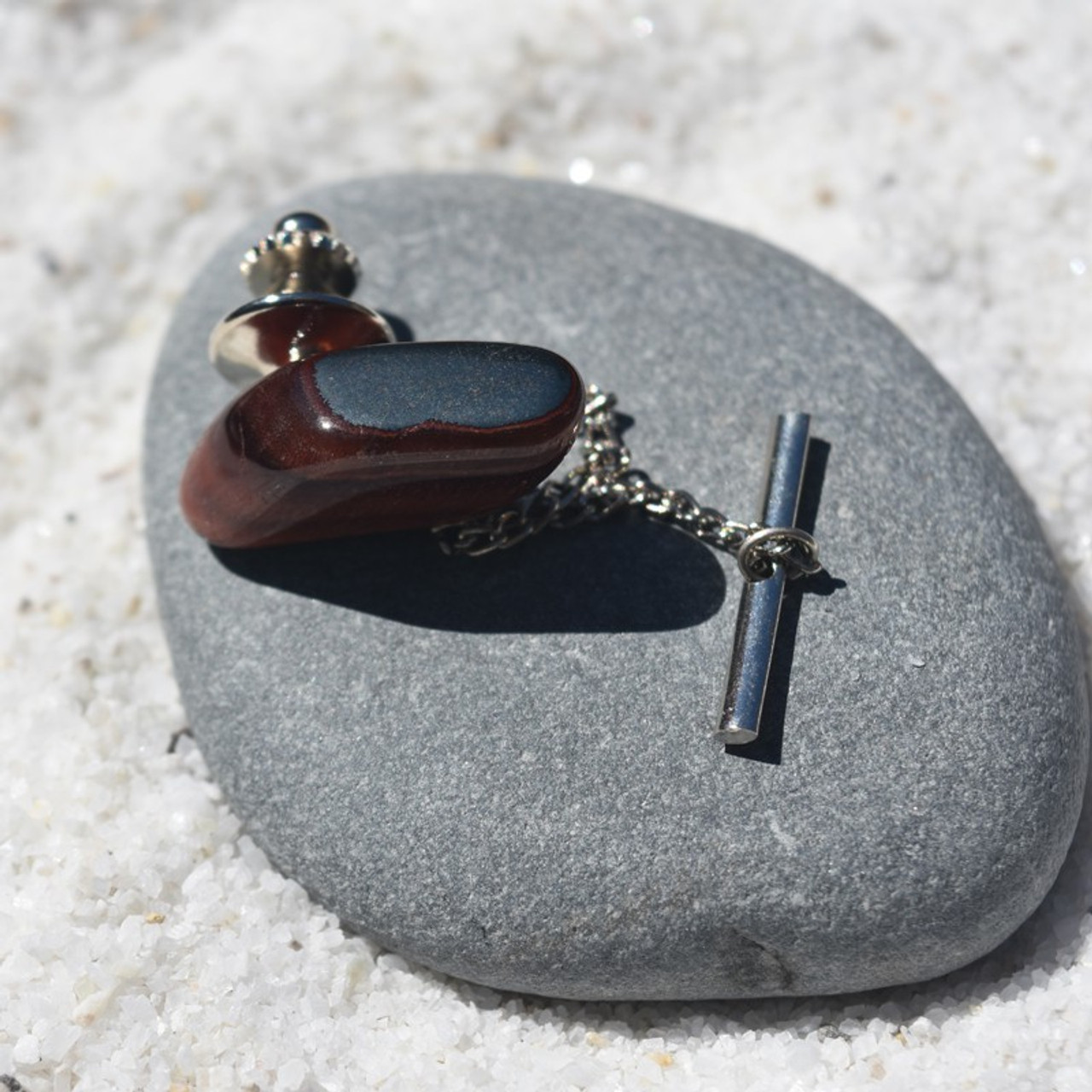 Red Tiger's Eye Stone Tie Tack