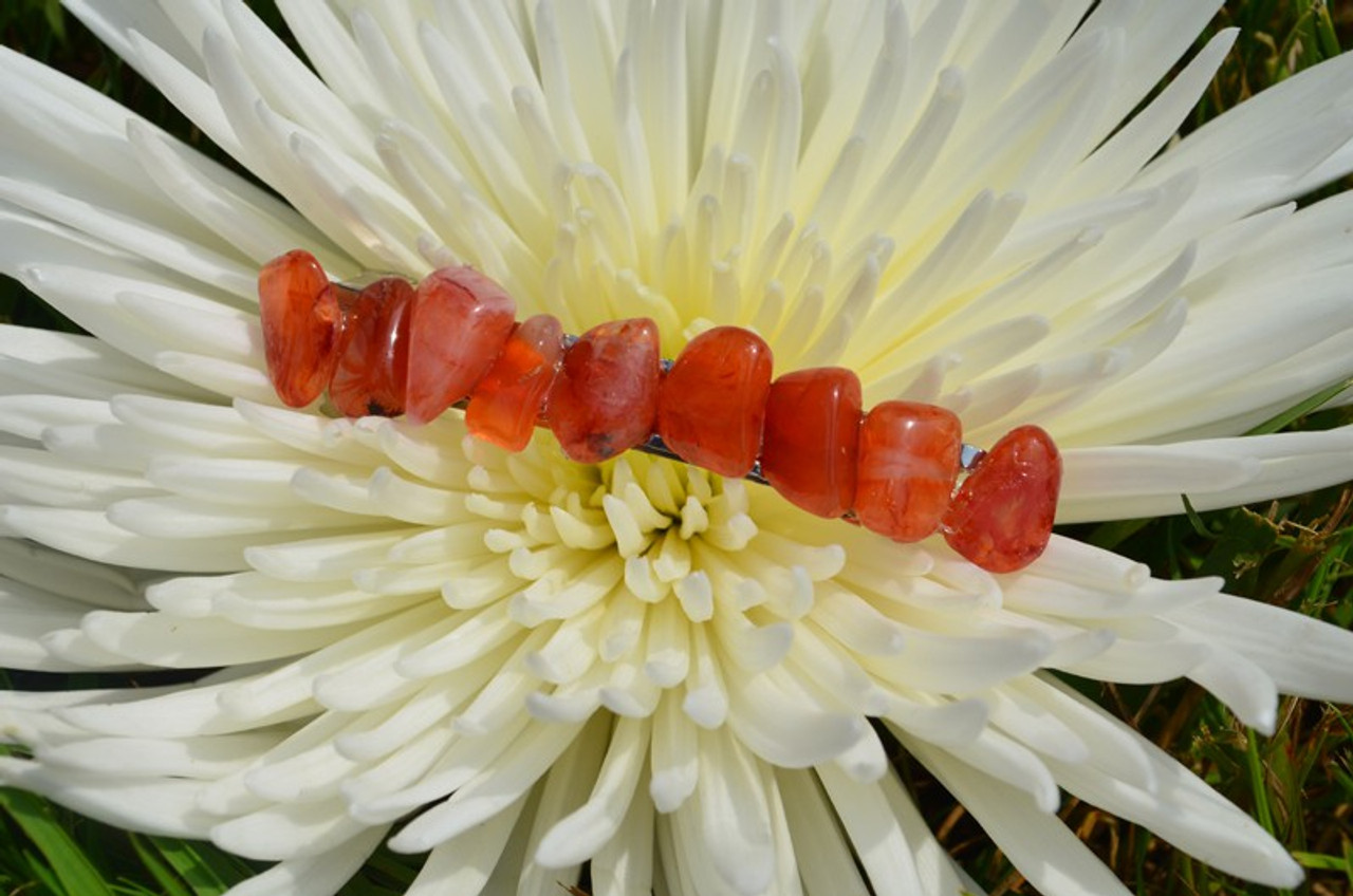 Carnelian Stone French Barrette Hair Clip - 60 MM - Made to Order